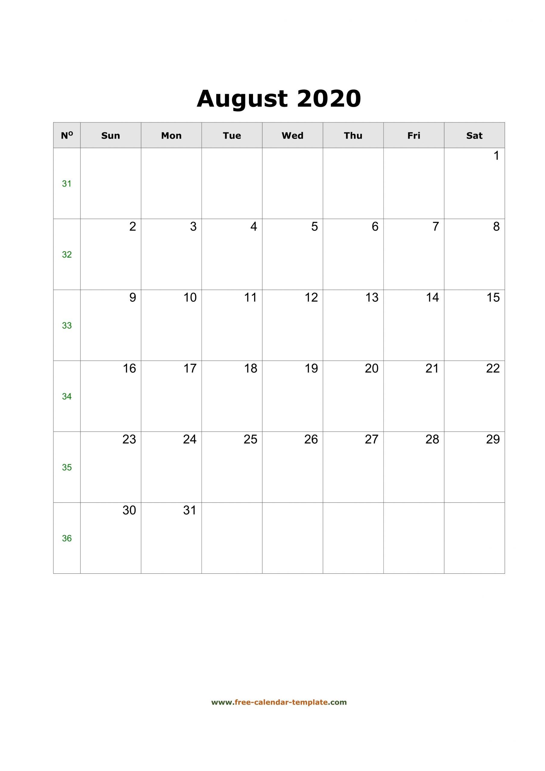 2020 August Calendar (Blank Vertical Template) | Free throughout Large Box Calendar 2020 Printable