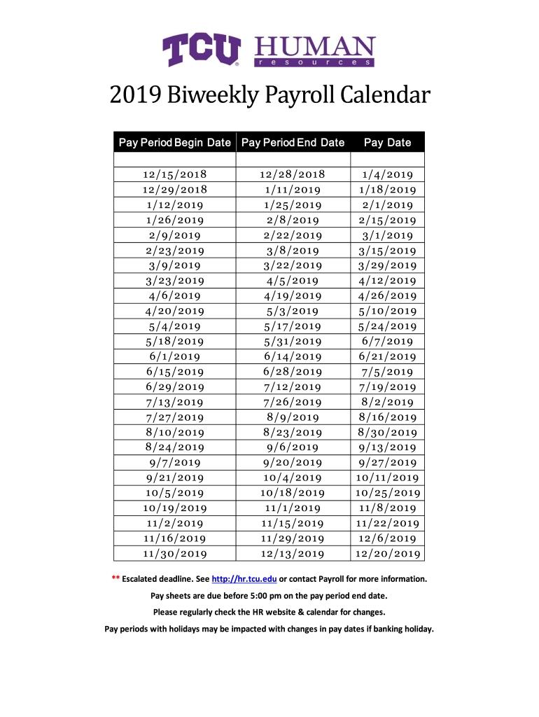2020 Biweekly Payroll Calendar Template - Fill Online
