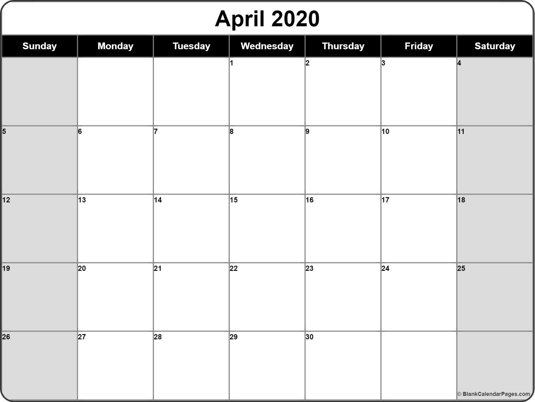 2020 Blank Monthly Calendar Printable – Welcome For You To