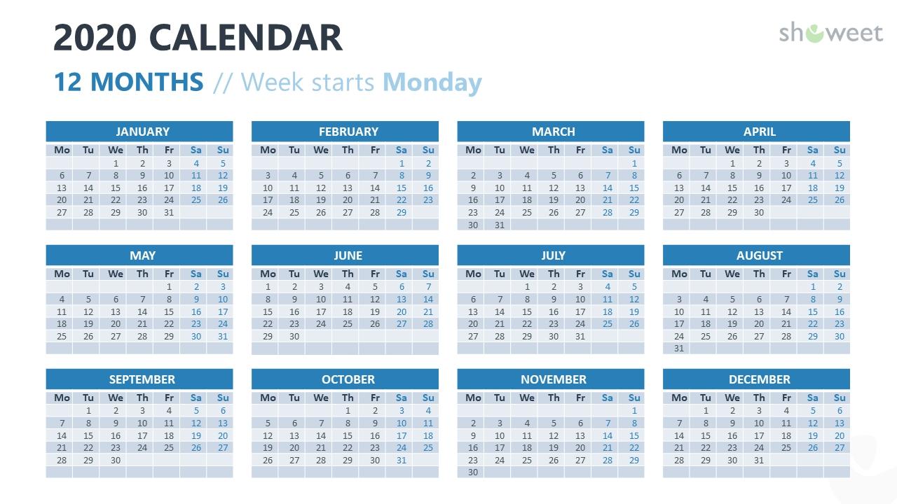 2020 Calendar For Powerpoint And Google Slides - Showeet regarding 2020 Calender Year Week Wise