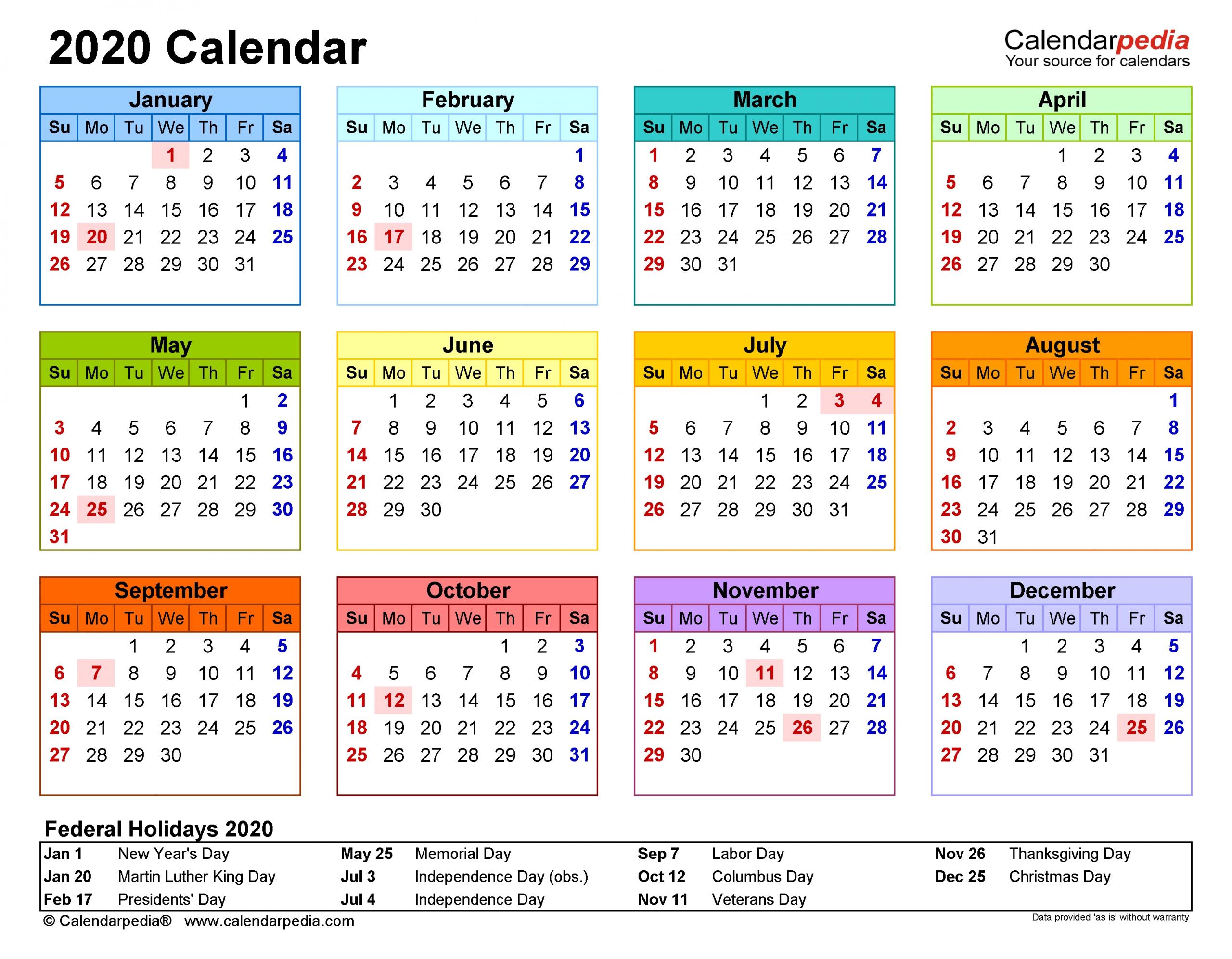 2020 Calendar - Free Printable Pdf Templates - Calendarpedia inside Print Pocket Size Calendar For 2020