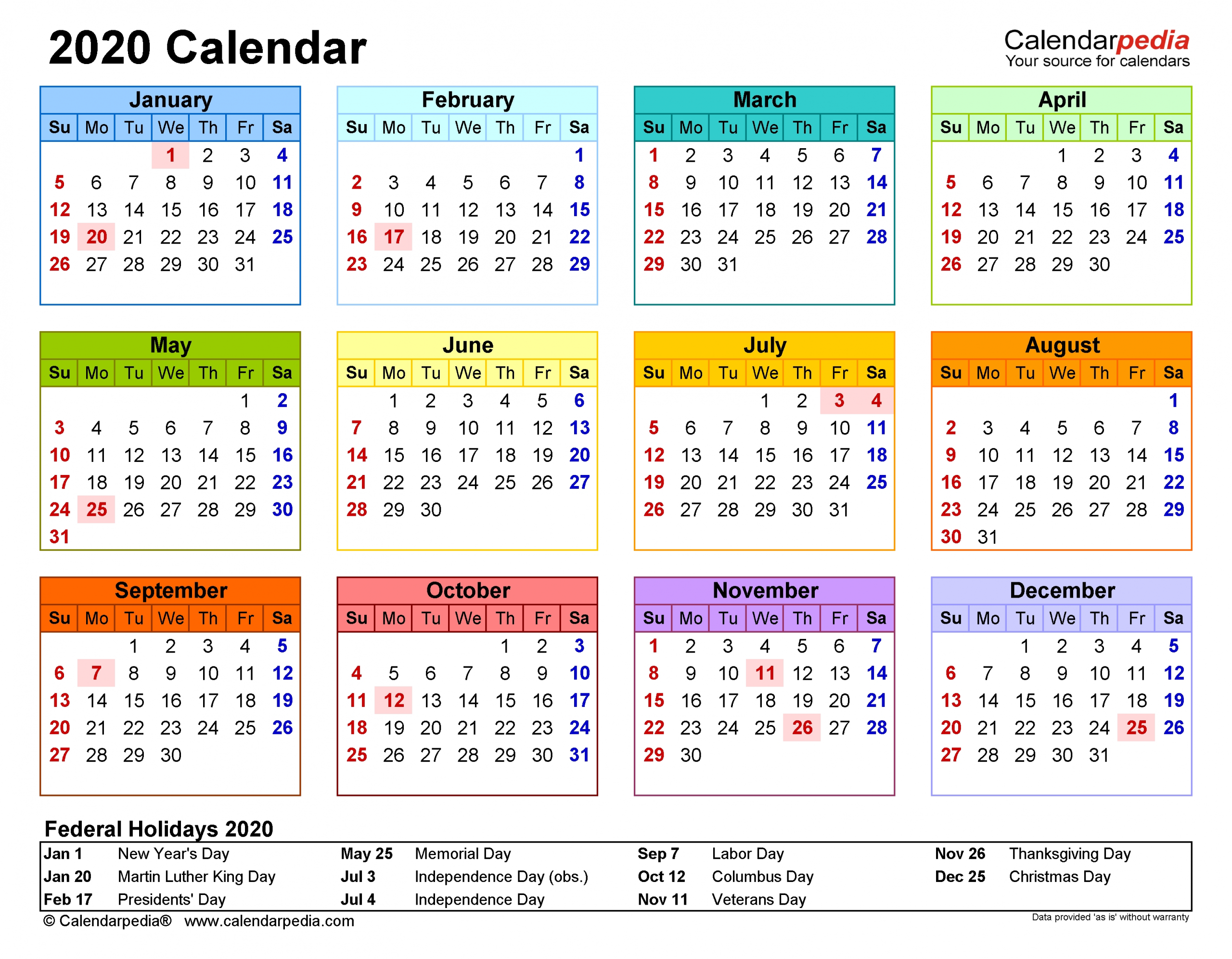 2020 Calendar - Free Printable Pdf Templates - Calendarpedia with regard to Printable Calendars 2020 Pocket Size