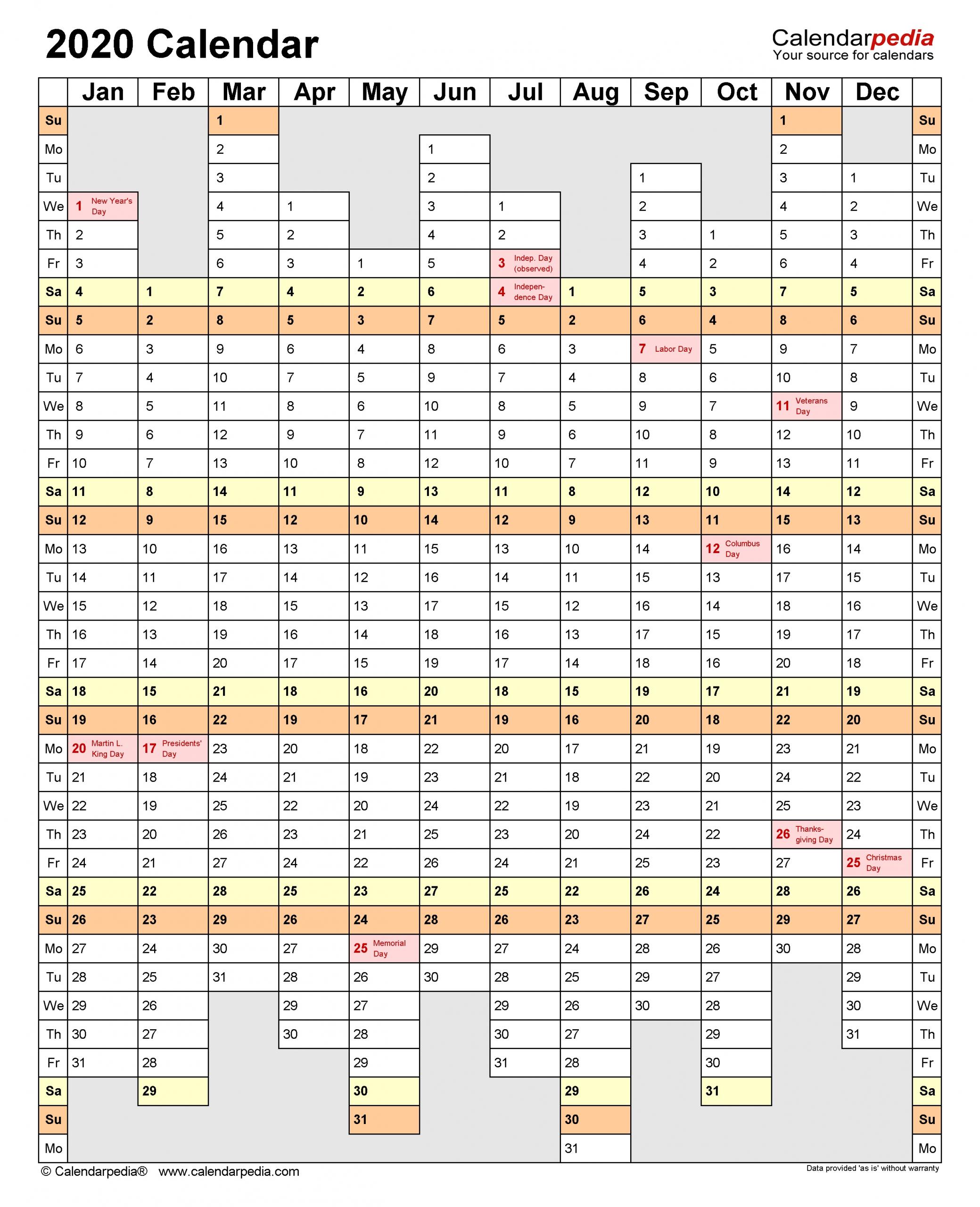 2020 Calendar - Free Printable Word Templates - Calendarpedia in Calendar 2020 Week Wise In Window