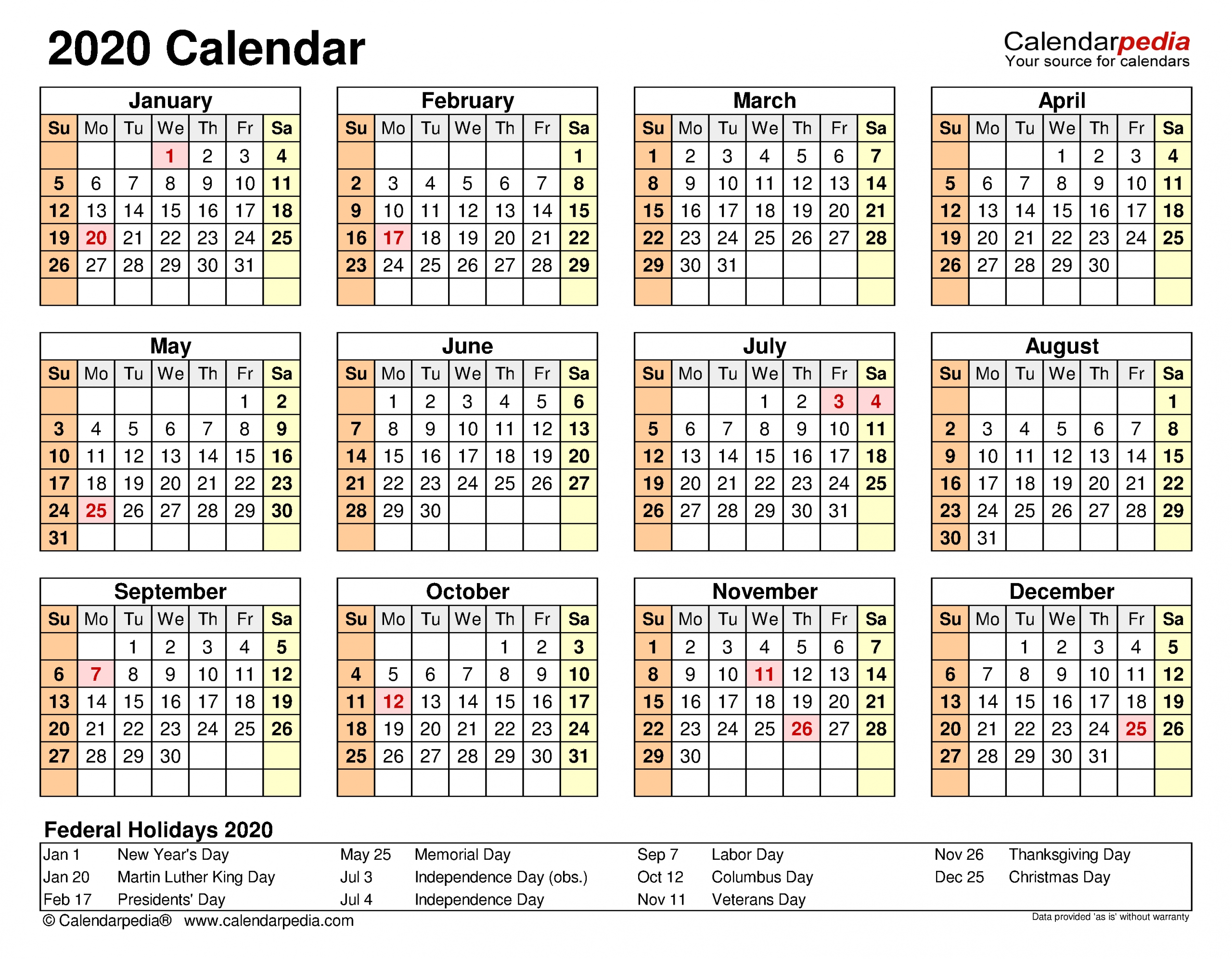 2020 Calendar - Free Printable Word Templates - Calendarpedia intended for 2020 Calendar Landscape Year At A Glance