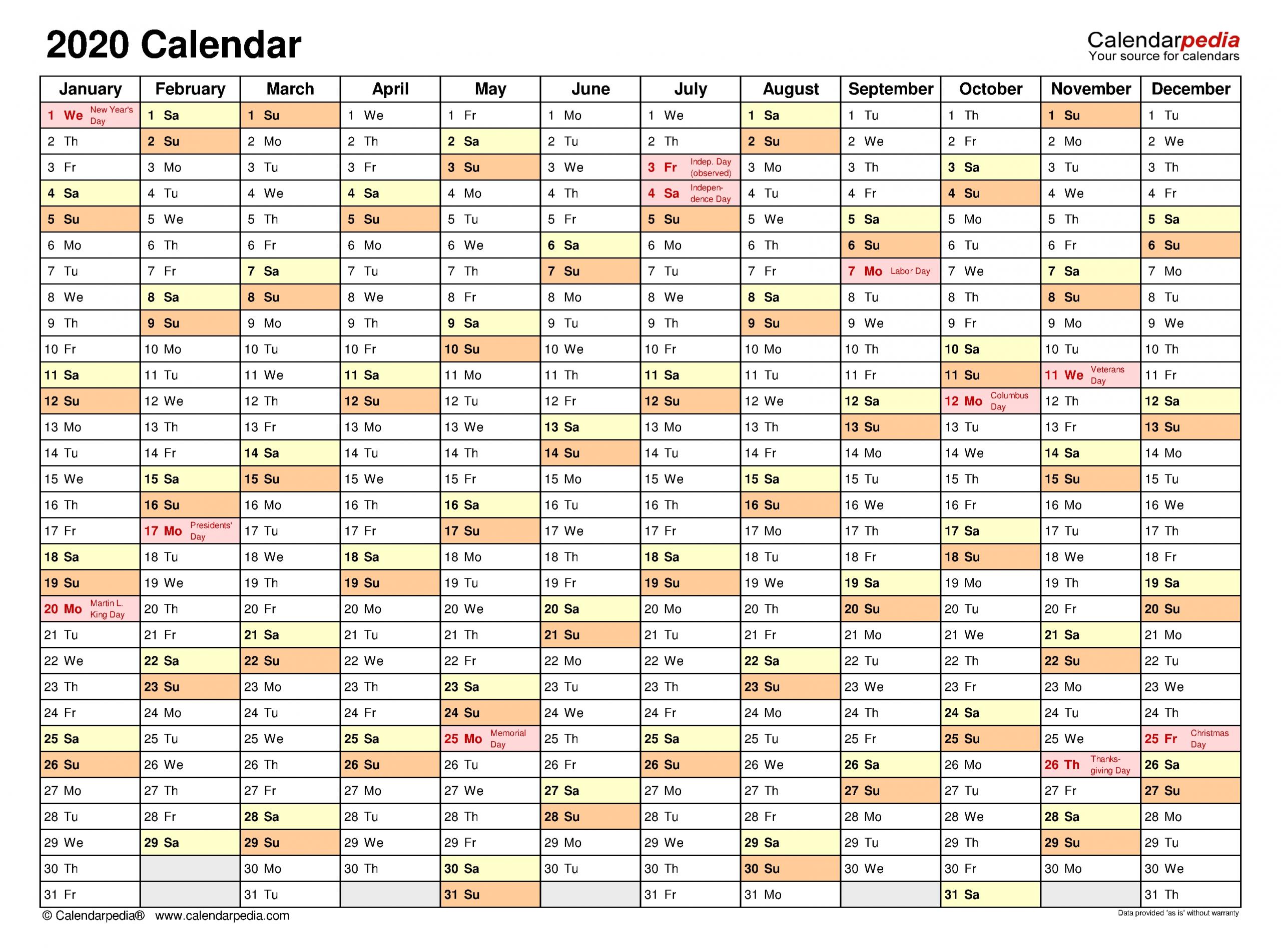 2020 Calendar - Free Printable Word Templates - Calendarpedia regarding Word Church Events Calender For 2020