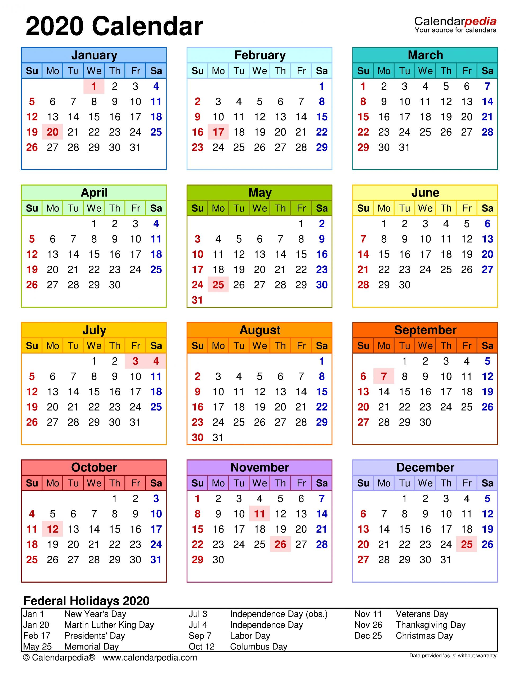 2020 Calendar - Free Printable Word Templates - Calendarpedia throughout 2020 Calendar Landscape Year At A Glance