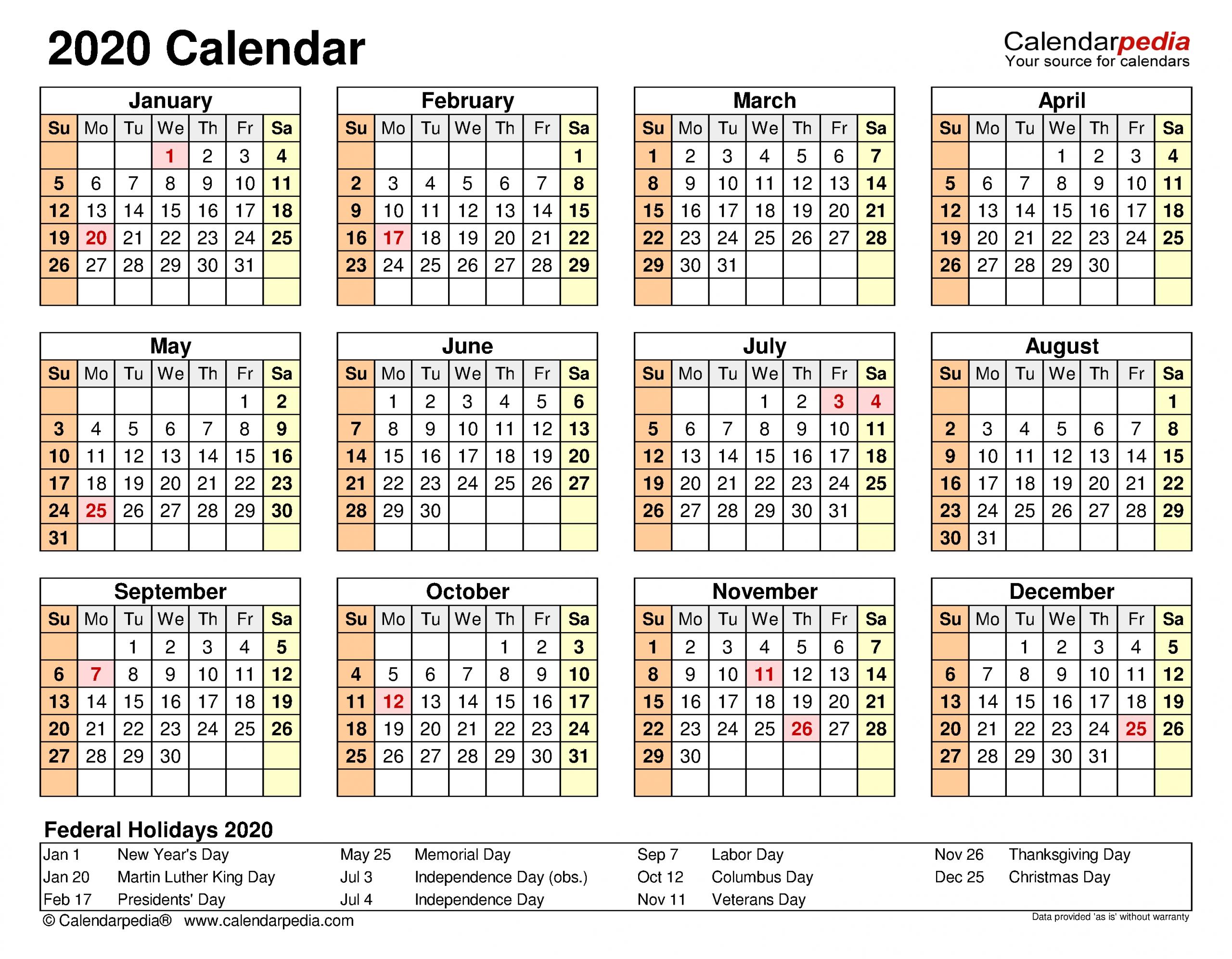 2020 Calendar - Free Printable Word Templates - Calendarpedia with Calendar 2020 Week Wise In Window