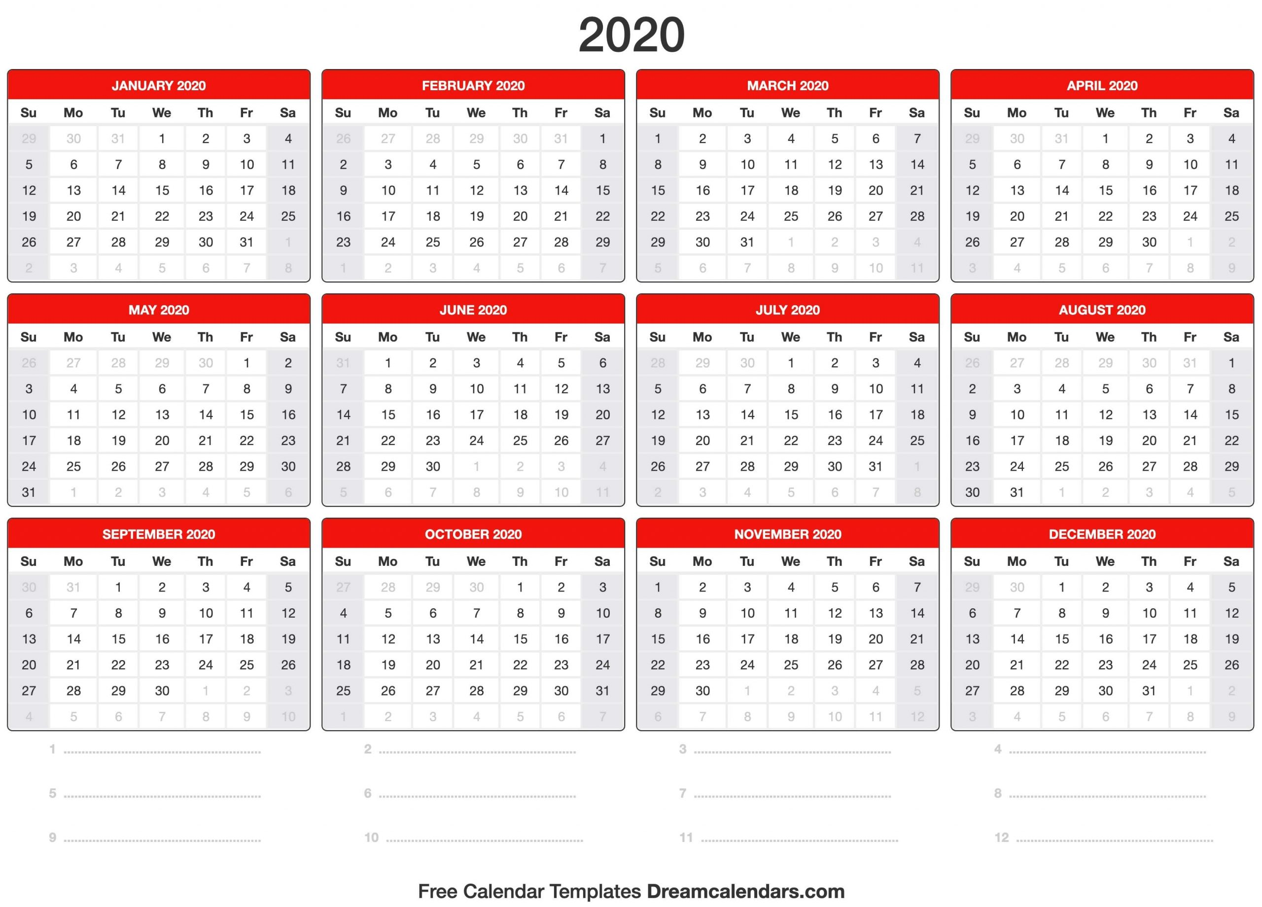 2020 Calendar in 2020 Calender Year Week Wise