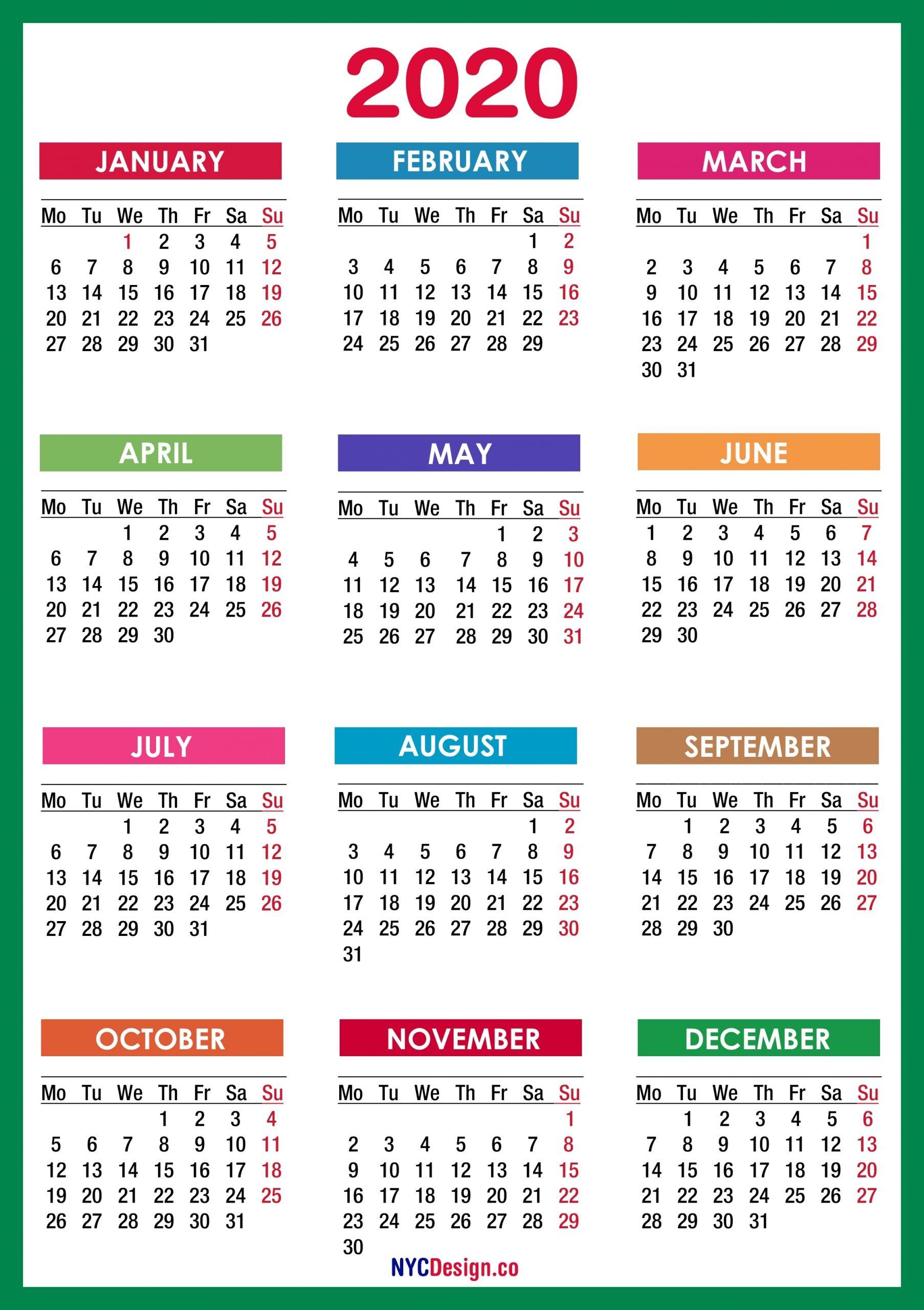 2020 Calendar Printable Free, Pdf, Colorful, Blue, Green for 2020 Calendar Printable Free Pdf Color