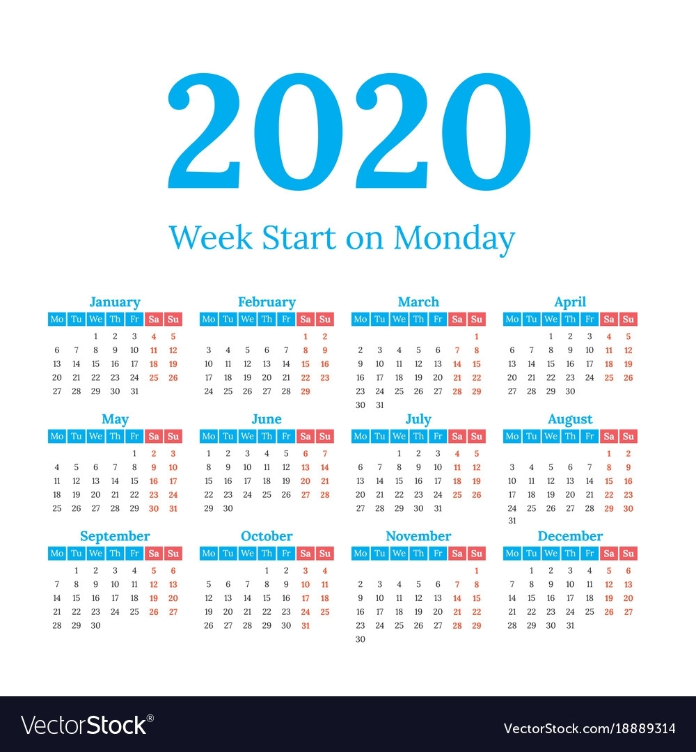 2020 Calendar Start On Monday Royalty Free Vector Image regarding Free 2020 Calender Starting With Monday