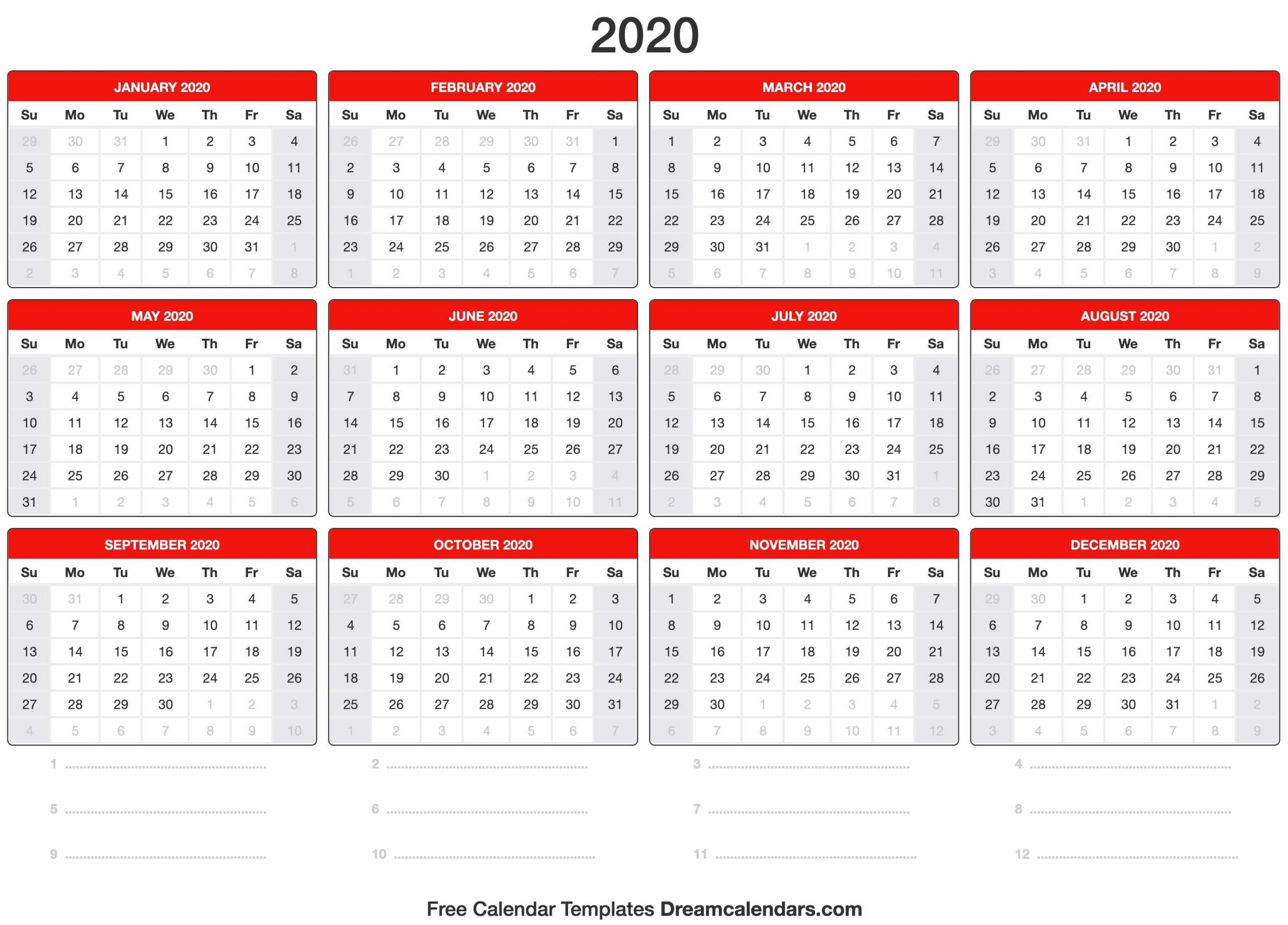 2020 Calendar throughout Print Pocket Size Calendar For 2020