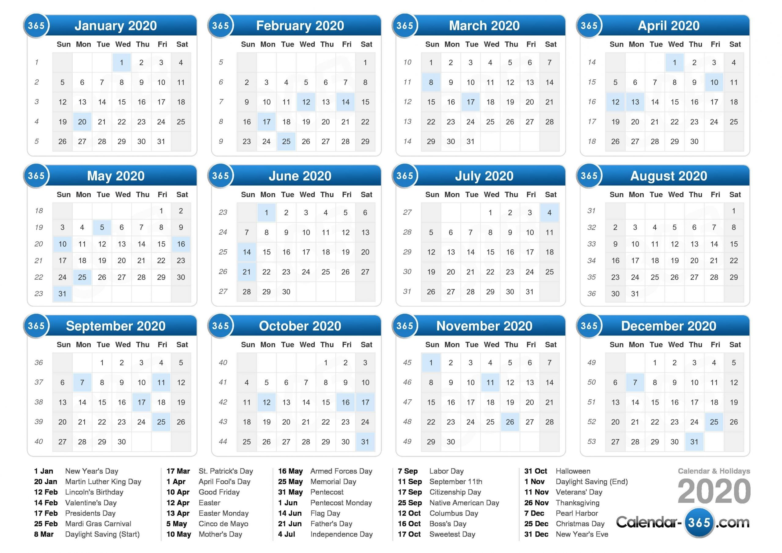 2020 Calendar with Calendar For 2020 Week Wise