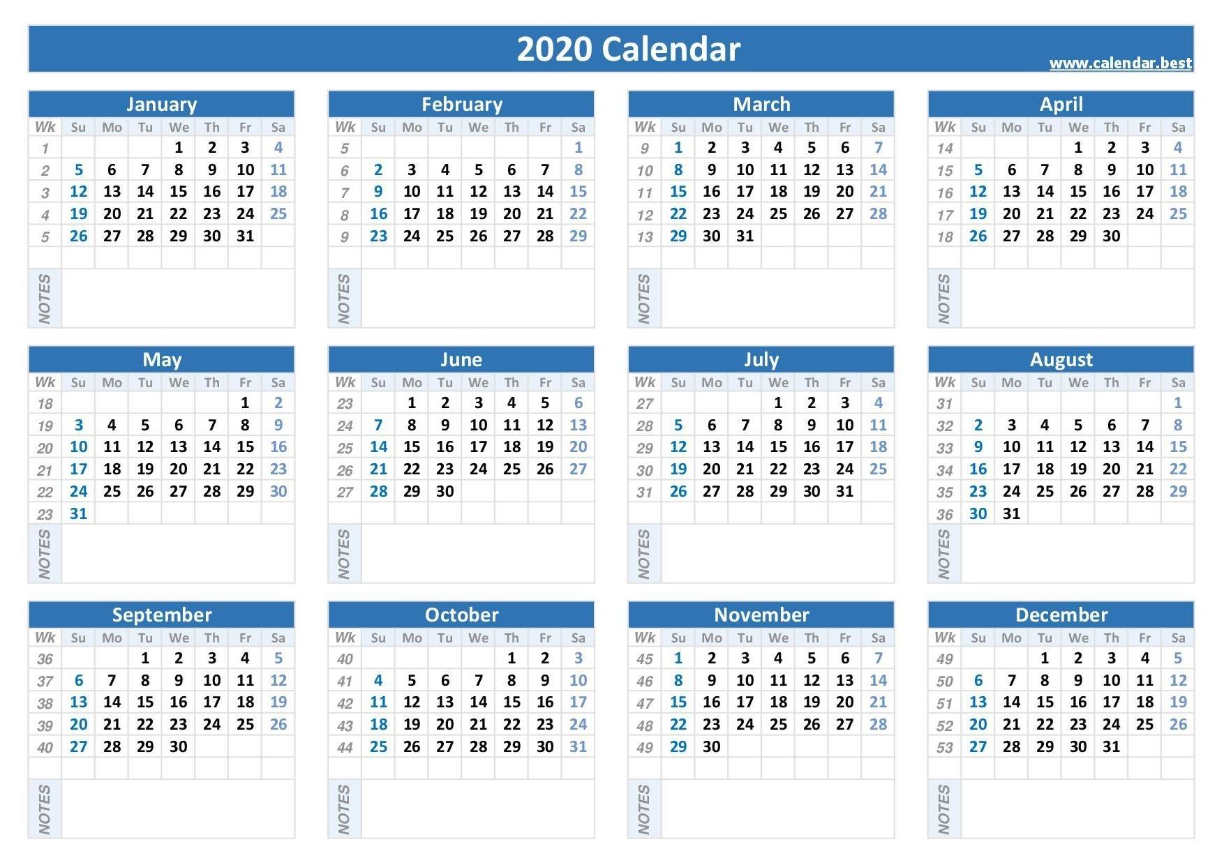2020 Calendar With Week Numbers -Calendar.best intended for Calendar For 2020 Week Wise