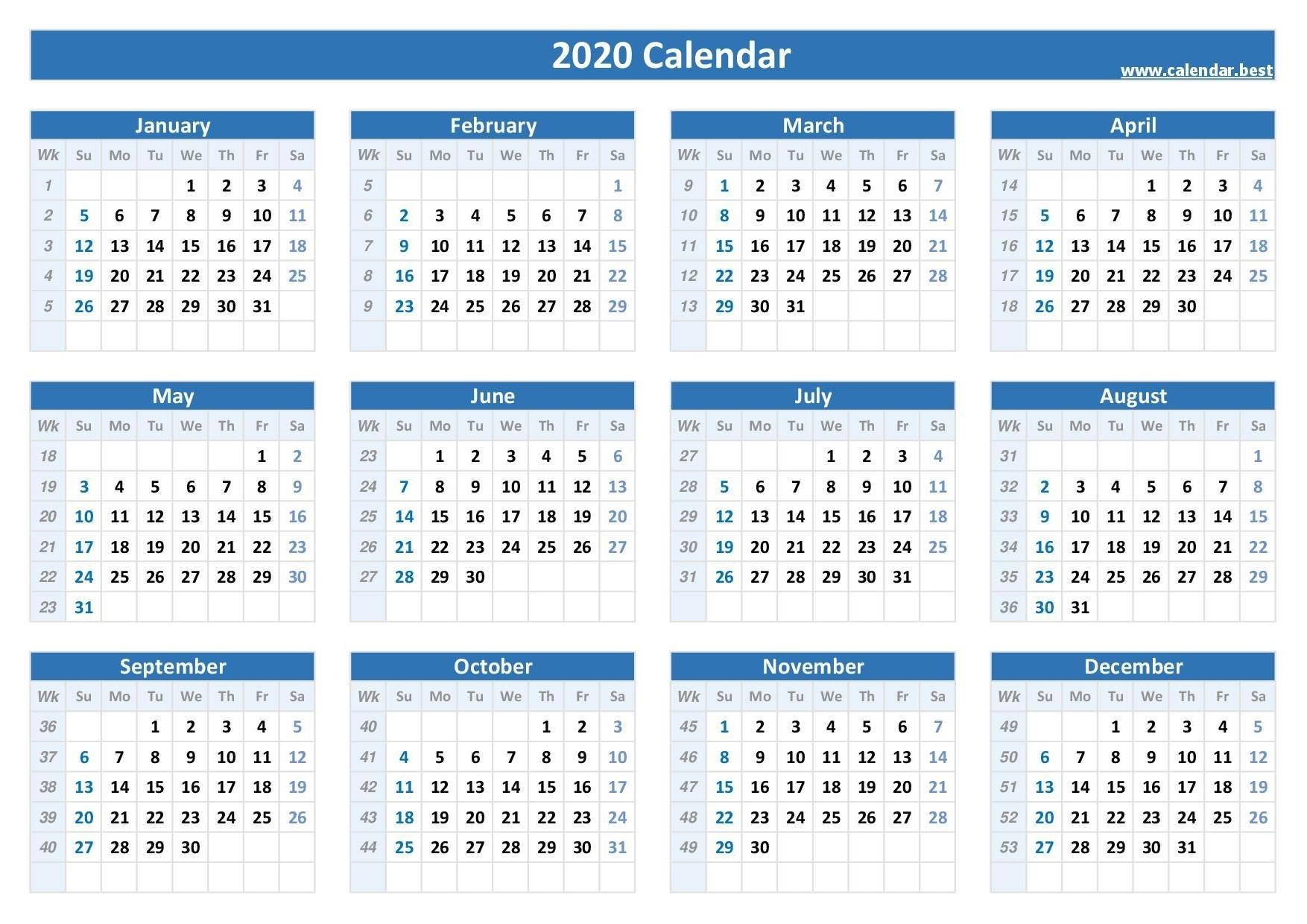 2020 Calendar With Week Numbers -Calendar.best throughout 2020 Calender Year Week Wise
