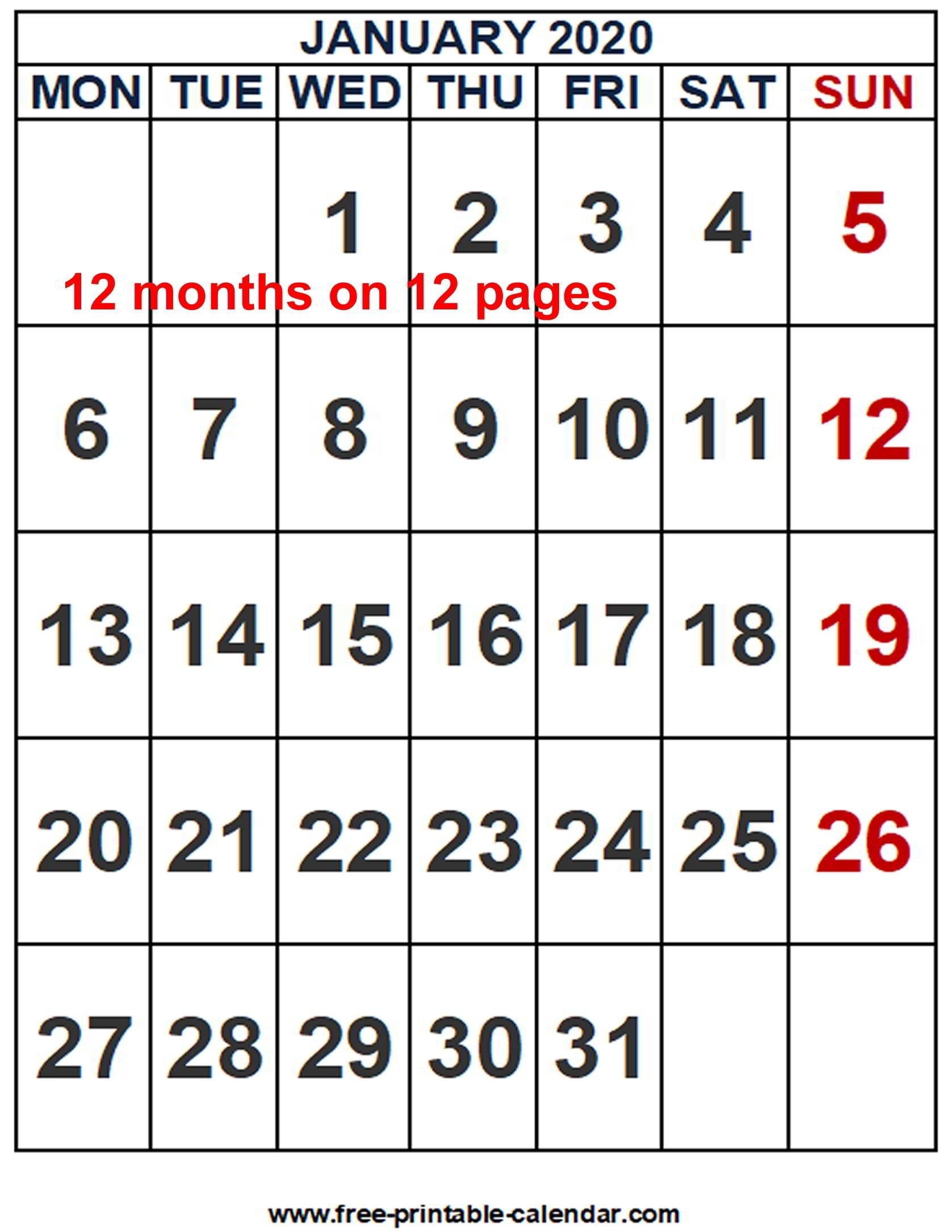 2020 Calendar Word Template - Free-Printable-Calendar throughout 2020 Calendar Printable Free Word Monthly