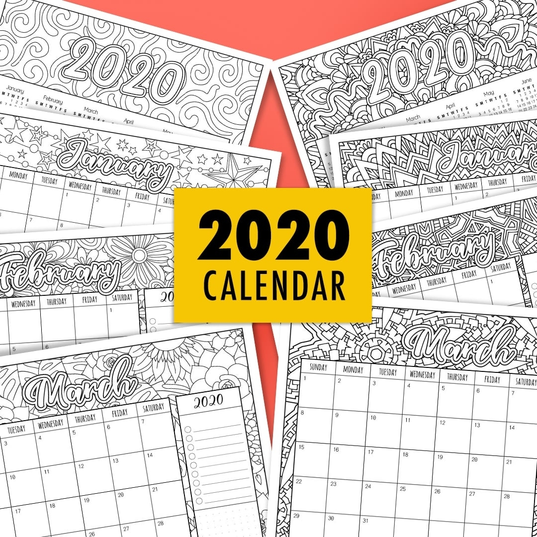 2020 Coloring Calendar within 2019 2020 Calendar Printable Color In