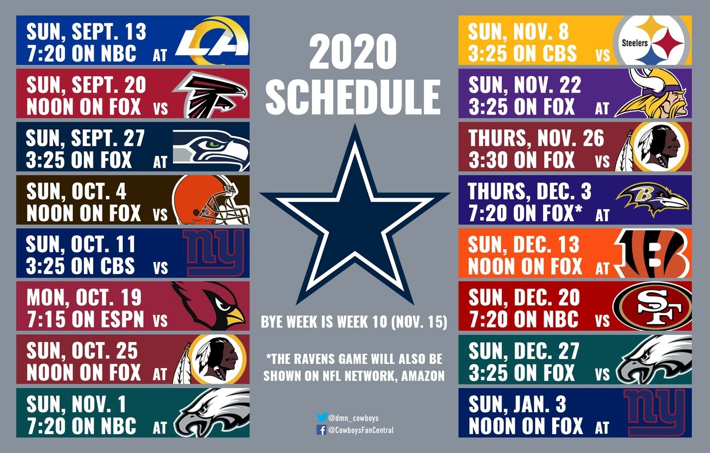 2020 Cowboys Schedule: Dates And Times Announced For Dallas throughout Nfl Schedule 2019 2020 Season Calendar