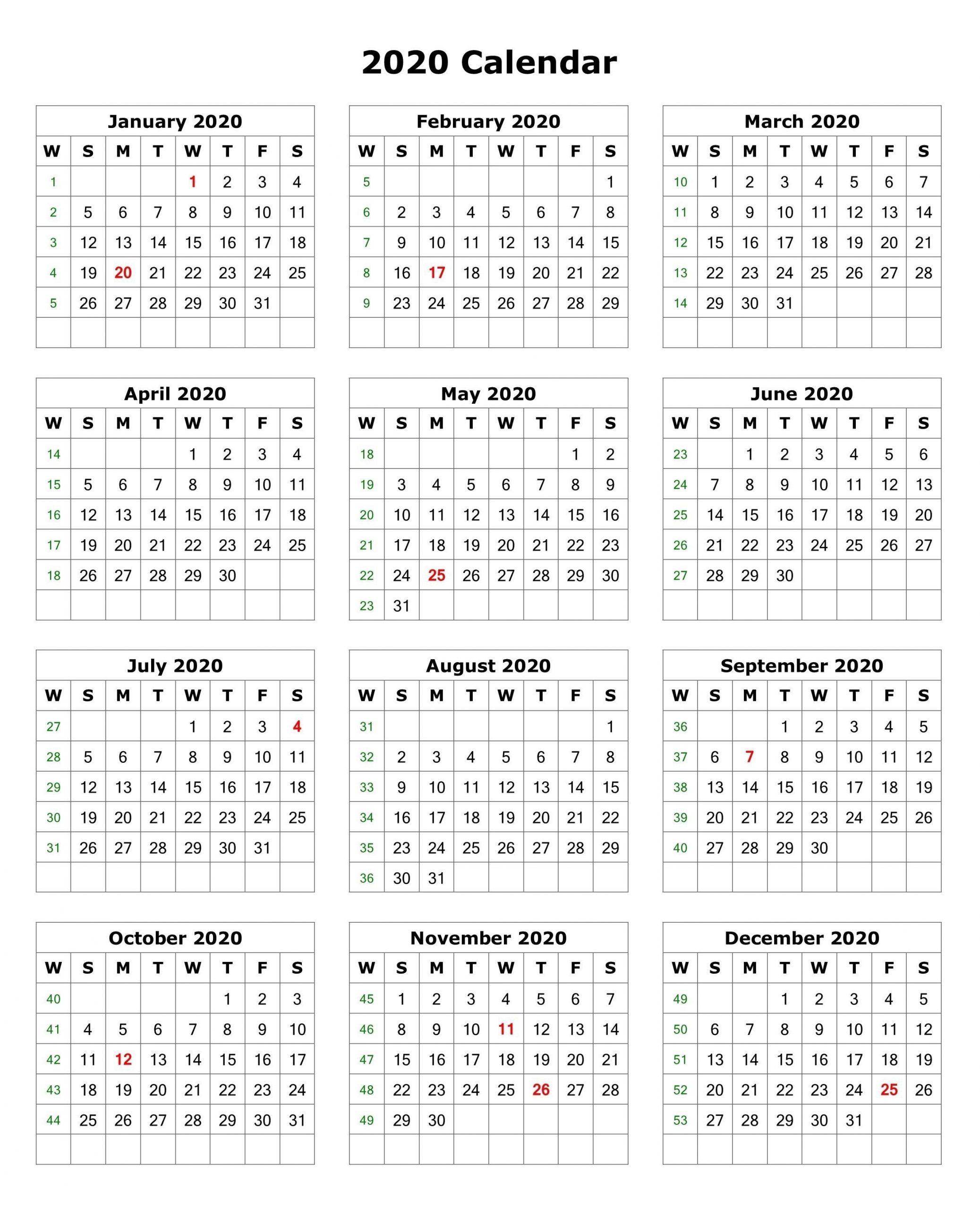2020 E Page Calendar Printable Minimal E Page Calendar For pertaining to 2020 12 Month Calendar Printable