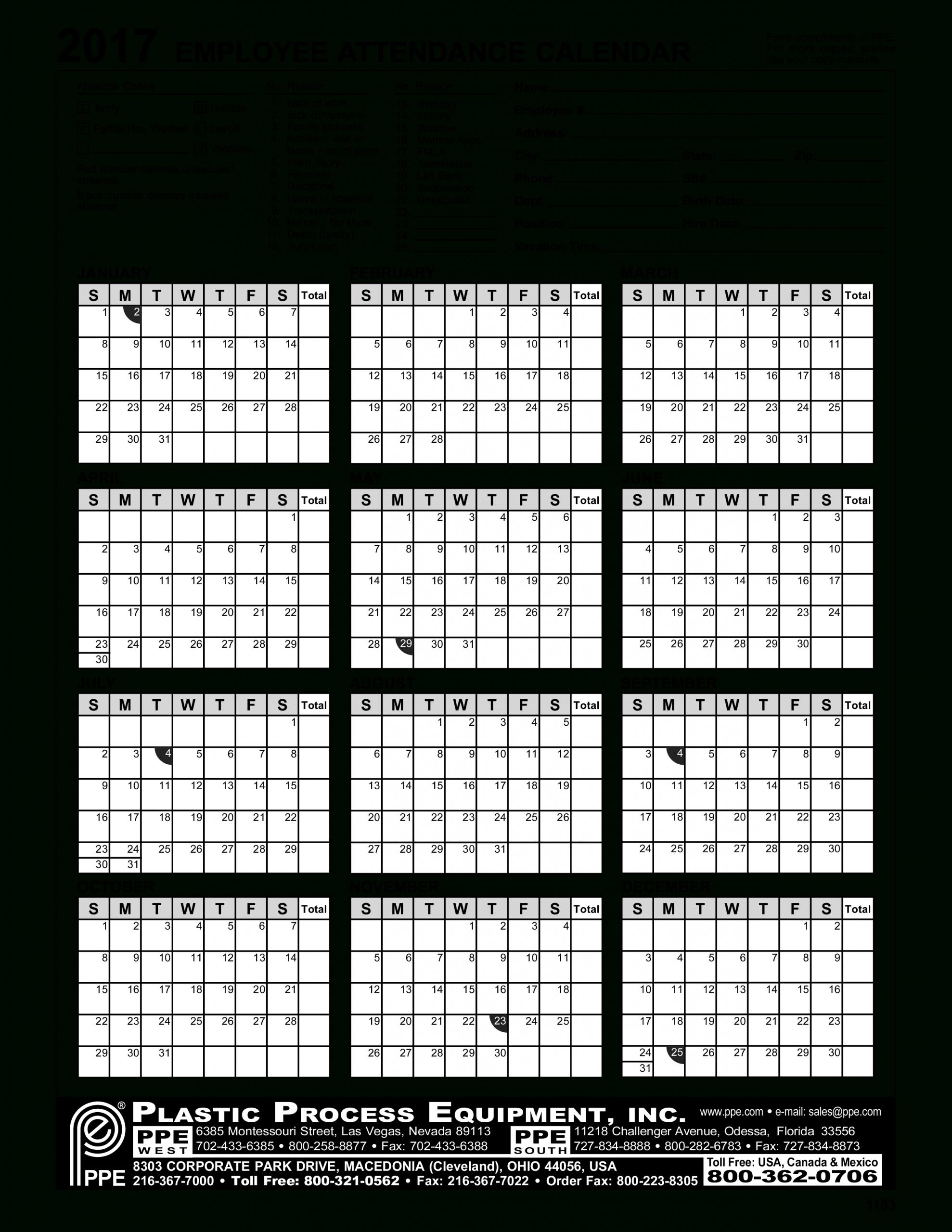 2020 Employee Attendance Calendar Free | Calendar For Planning in Free Printableemployee Attendance Calendars 2020