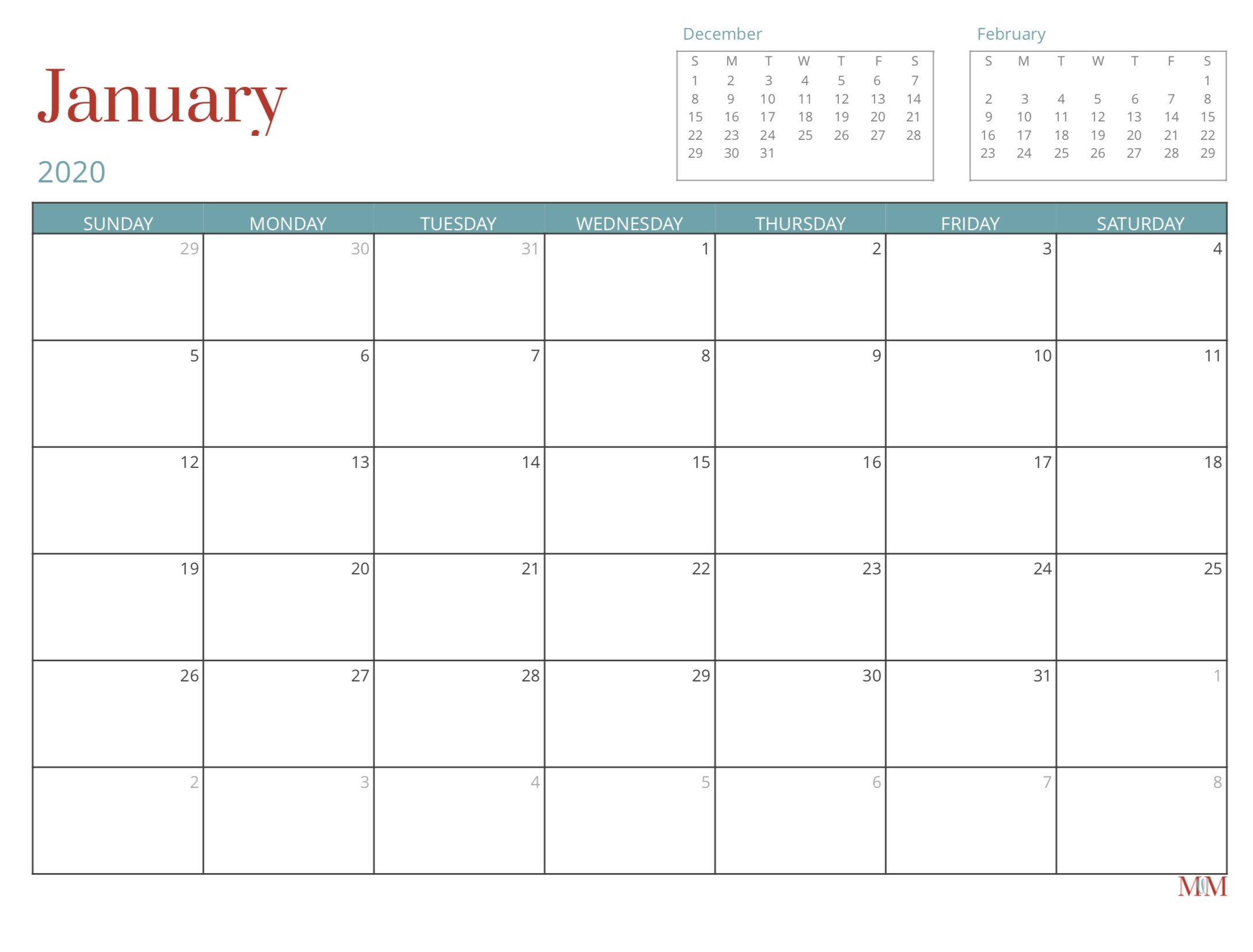 2020 Free Monthly Calendar - Morganize With Me | Morgan within 2020 Free 12 Month Printable Monthly Calendar
