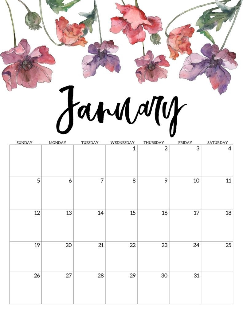 2020 Free Printable Calendar - Floral | Paper Trail Design within 2020 Design Calendar Printable Free