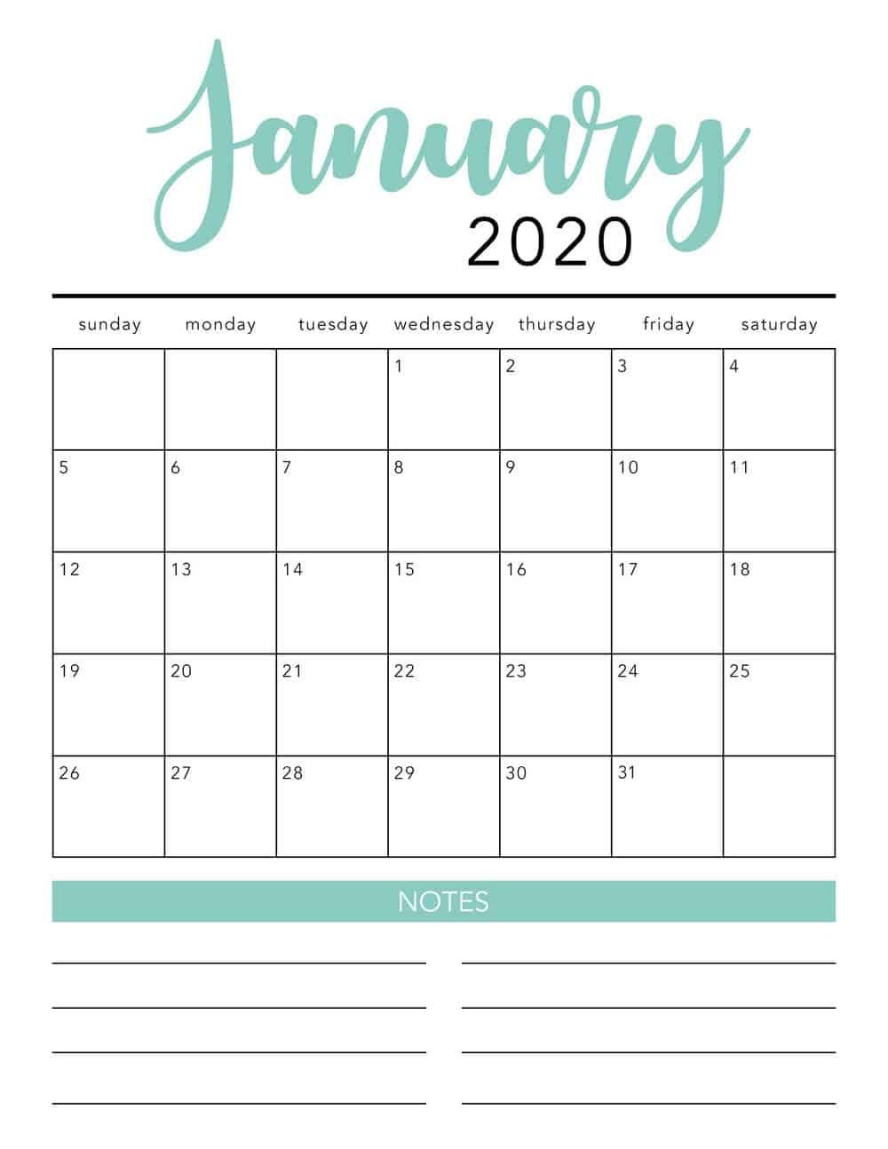 2020 Free Printable Calendars - Lolly Jane