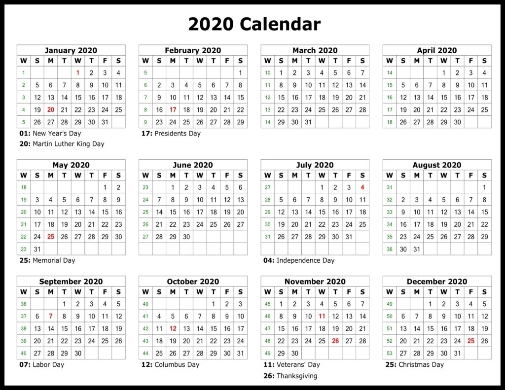 2020 Free Year Printable Calendars Without Downloading Di 2020