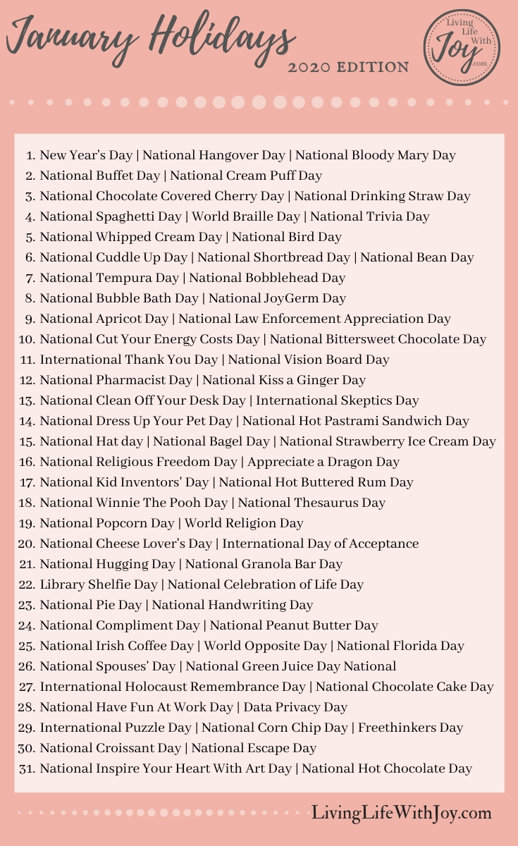 2020 Fun National Holidays | Living Life With Joy In 2020 pertaining to List Of Special Days 2020