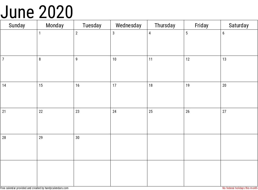 2020 June Calendars - Handy Calendars