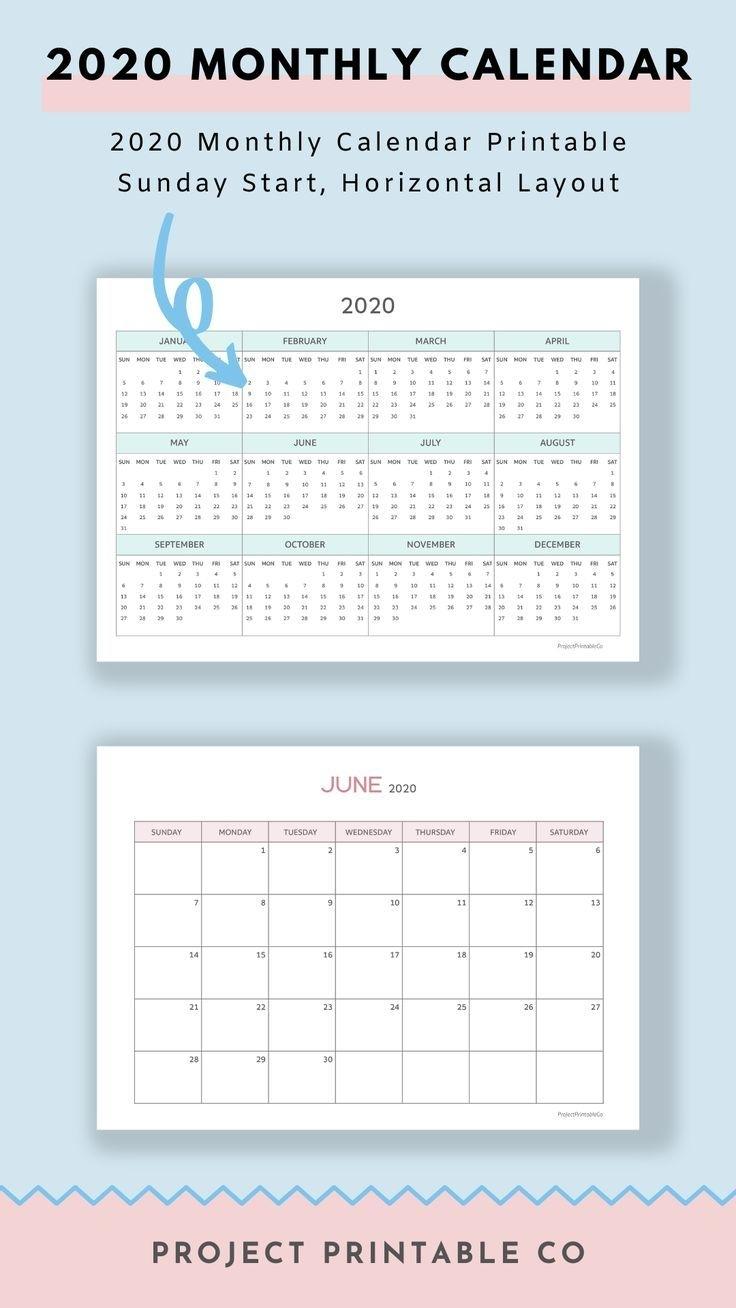 2020 Monthly Calendar Printable – Sunday Start, Horizontal
