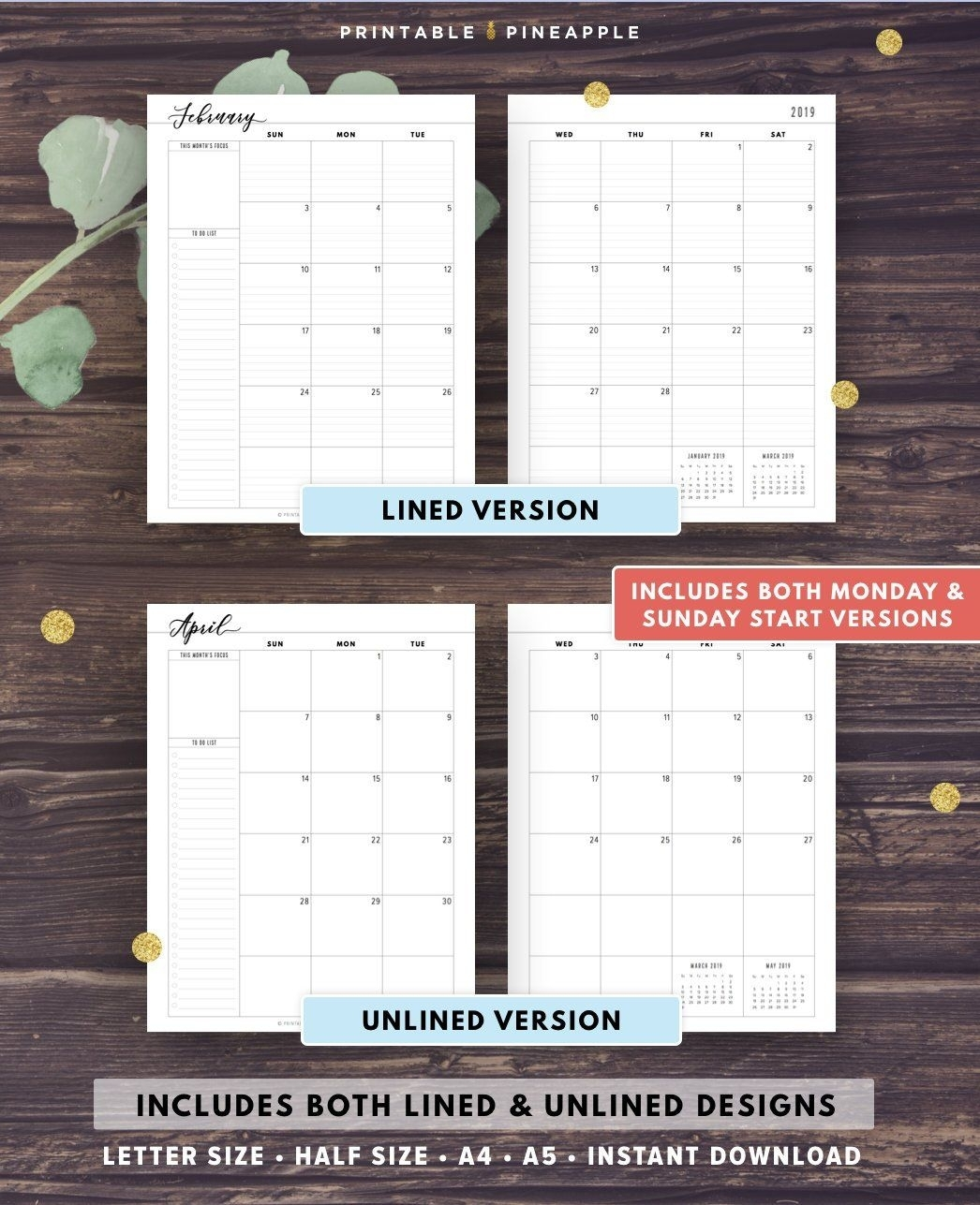 2020 Monthly Planner Printable 2020 Agenda Filofax A5 Half throughout Free Half Page 2020 Monthly Calanders