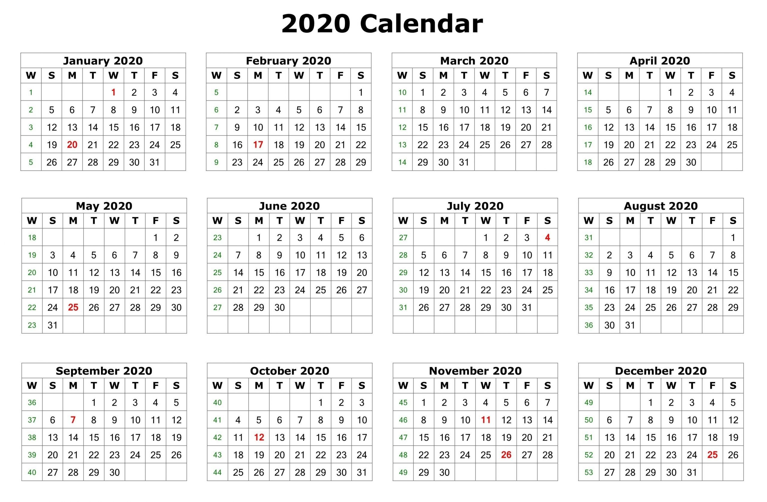 2020 One Page Calendar Printable | Calendar 2020 | 12 Month throughout 2020 12 Month Calendar Printable