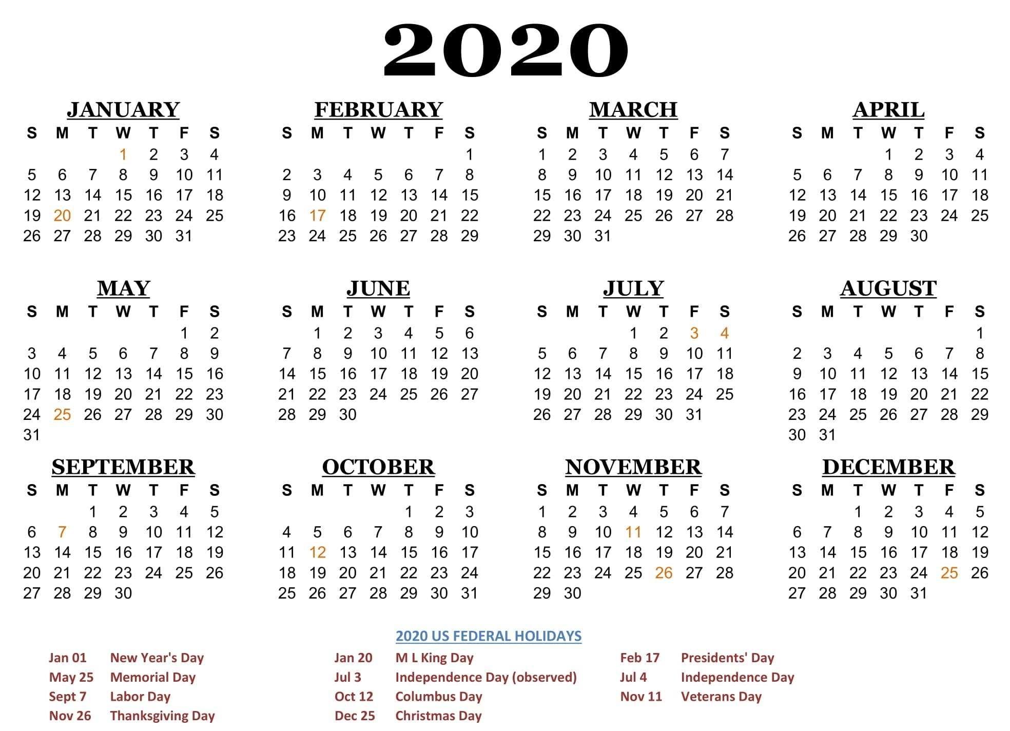 2020 One Page Calendar Printable Download | Calendarbuzz