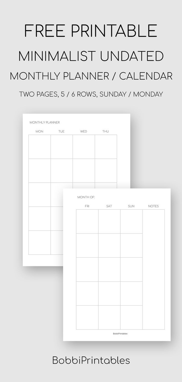 2020 Printable Calendar Monthly Planner, Us Letter + A4