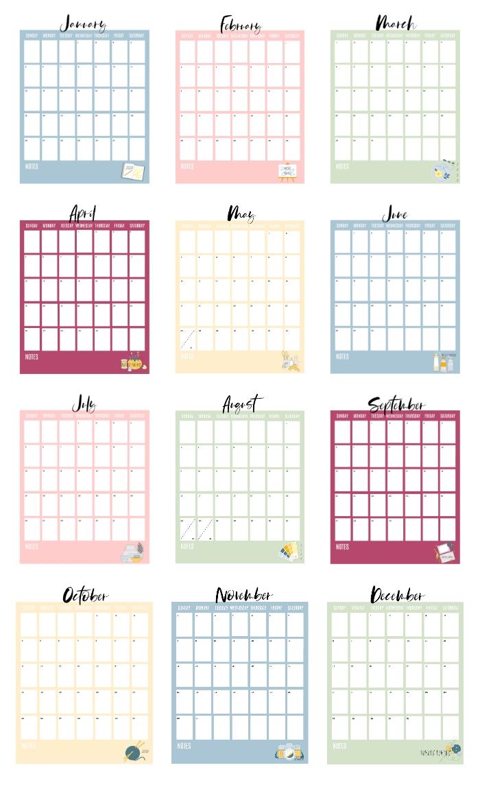 2020 Printable Calendar Pages (Free!) - Gluesticks Blog