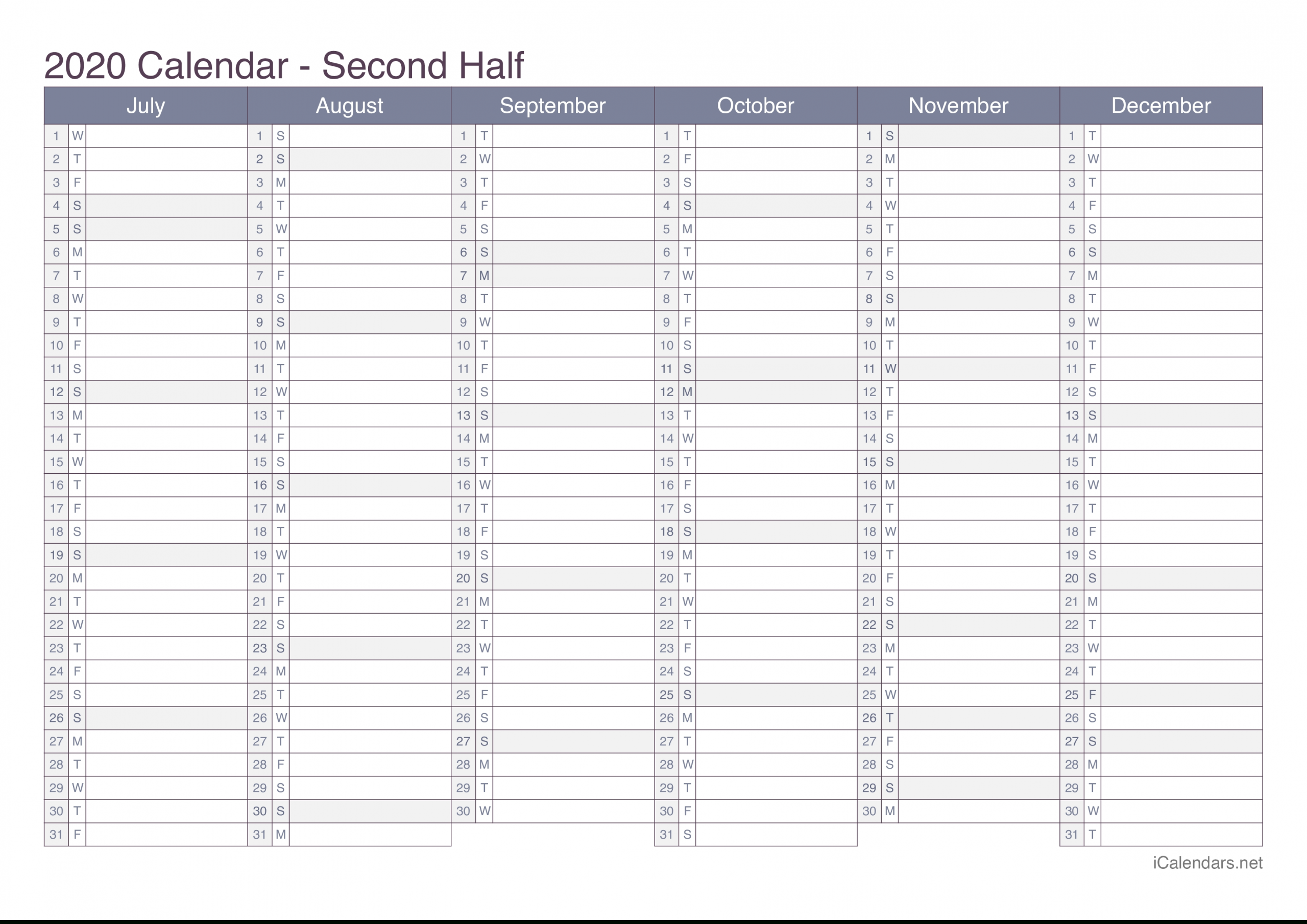 2020 Printable Calendar - Pdf Or Excel - Icalendars within 2020 Calendar To Fill In