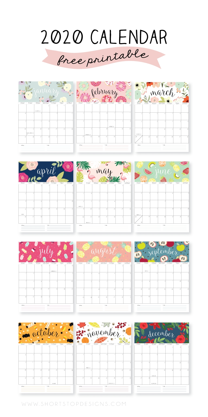 2020 Printable Calendar – Short Stop Designs with 2020 Design Calendar Printable Free