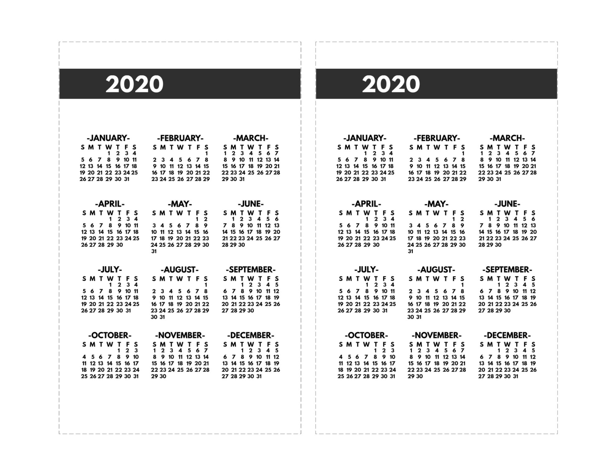 2020 Printable One Page Year At A Glance Calendar | Paper regarding Year At A Glance Calendar 2020 8.5 X 11