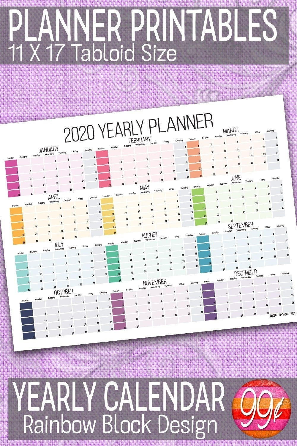 2020 Yearly Calendar 11X17 Printable Color Block Wall | Etsy pertaining to Free Printable 11X17 Monthly Calendar