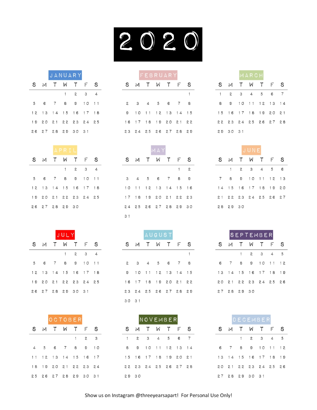 2020 Yearly Calendar Free Printable | Bullet Journal And within 2020 Year At A Glance Download