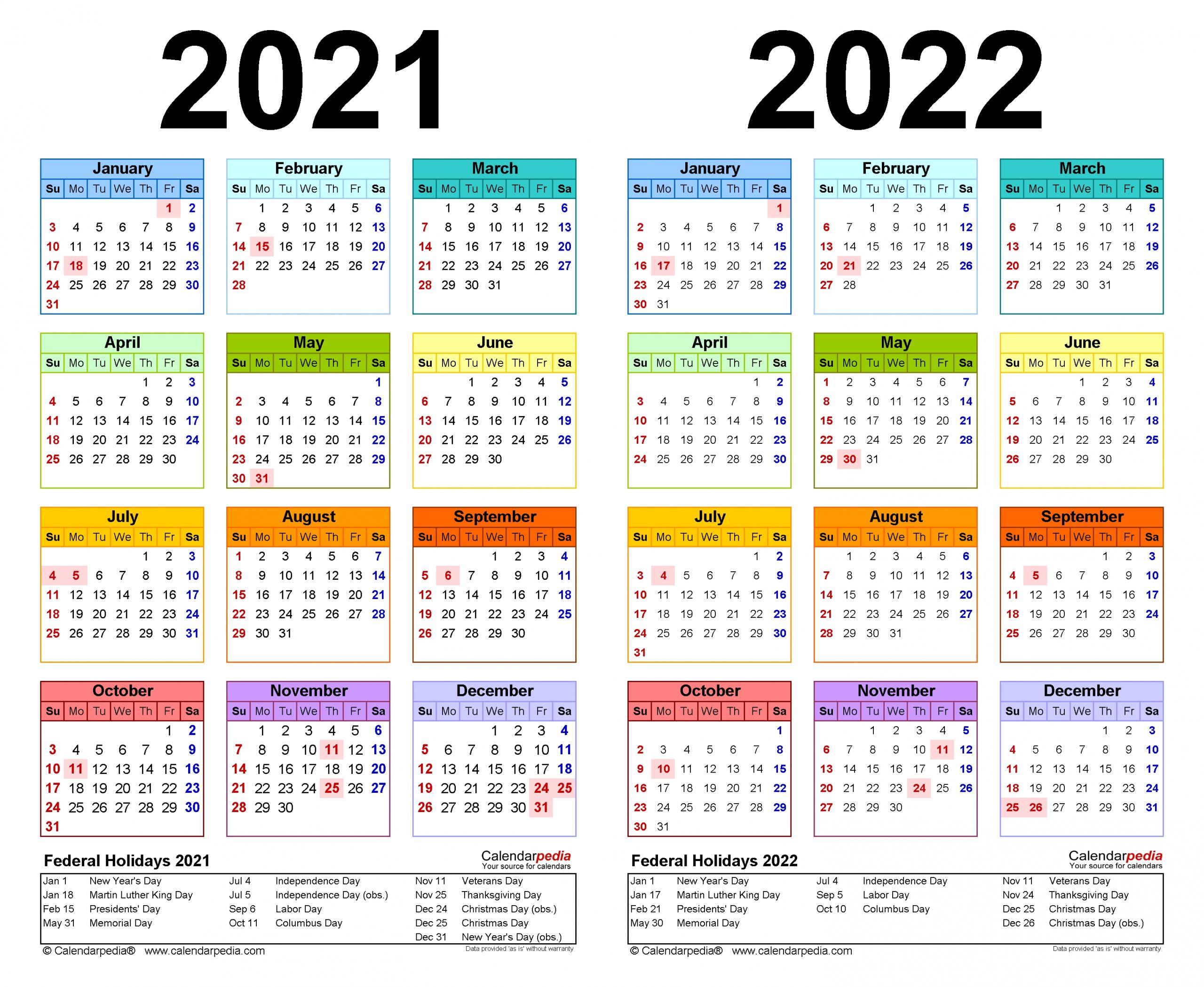 2021-2022 Two Year Calendar - Free Printable Word Templates
