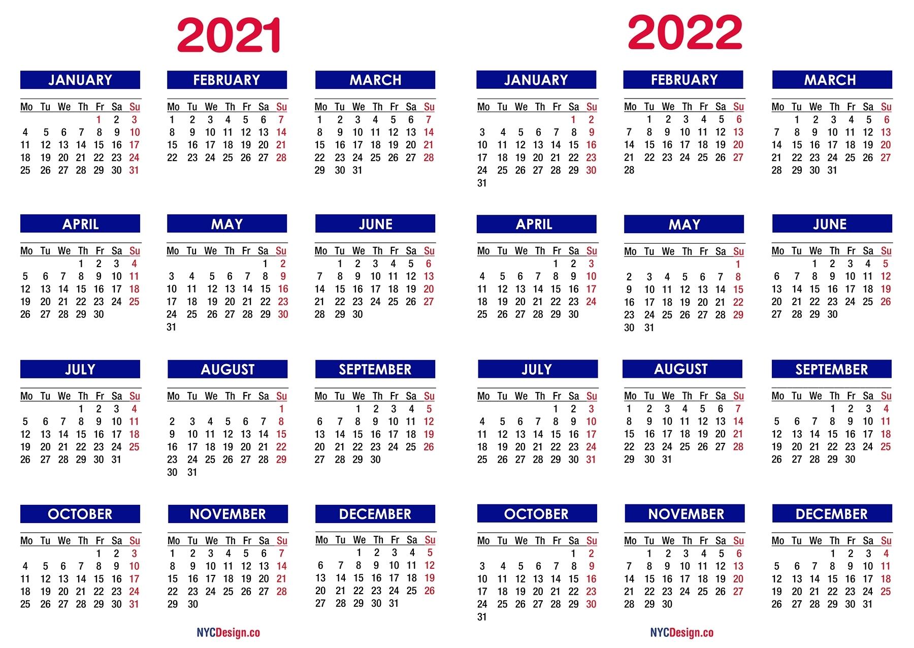 2021 – 2022 Two Year Calendar Printable Free, Blue