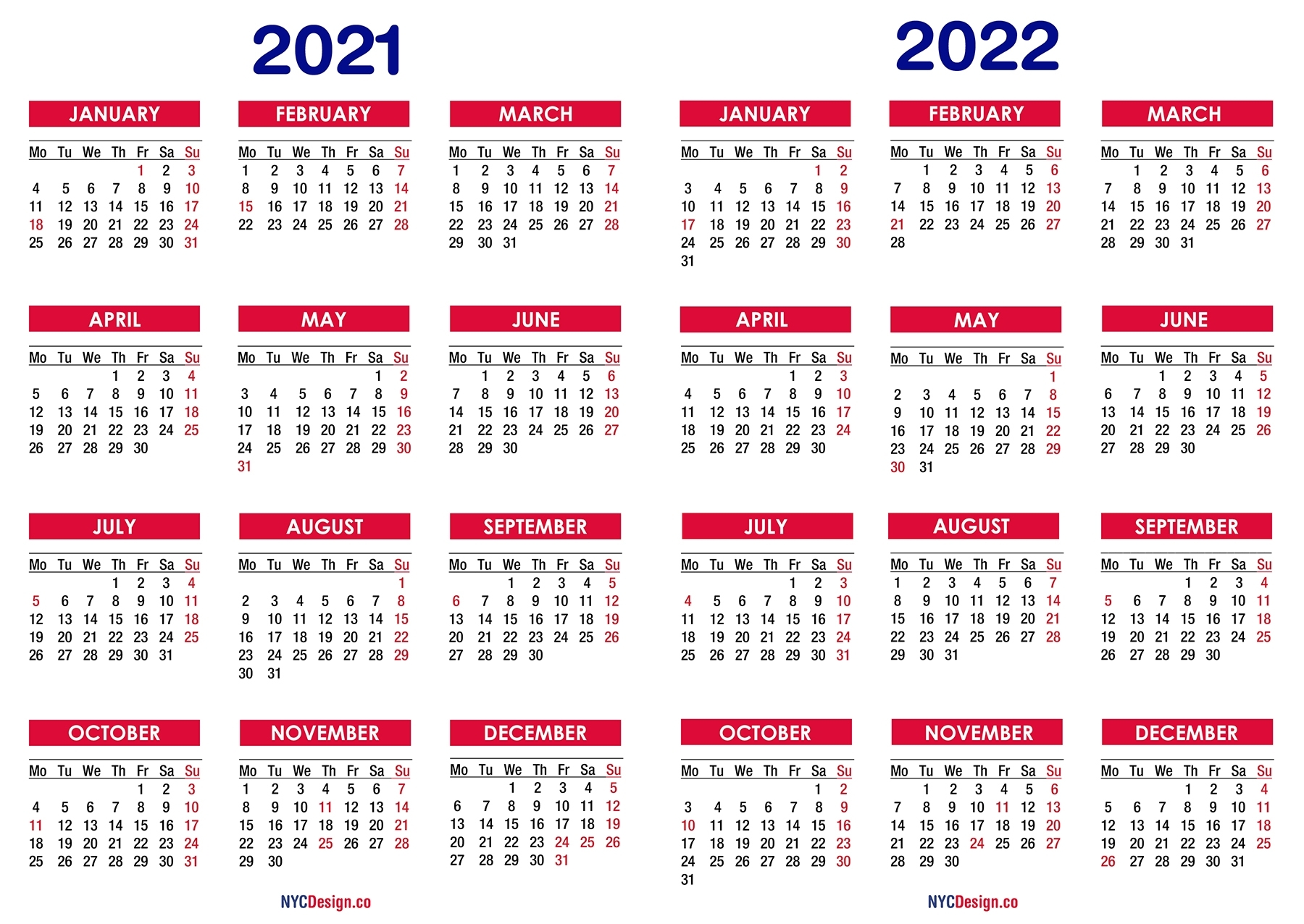 2021 – 2022 Two Year Calendar With Holidays, Printable Free