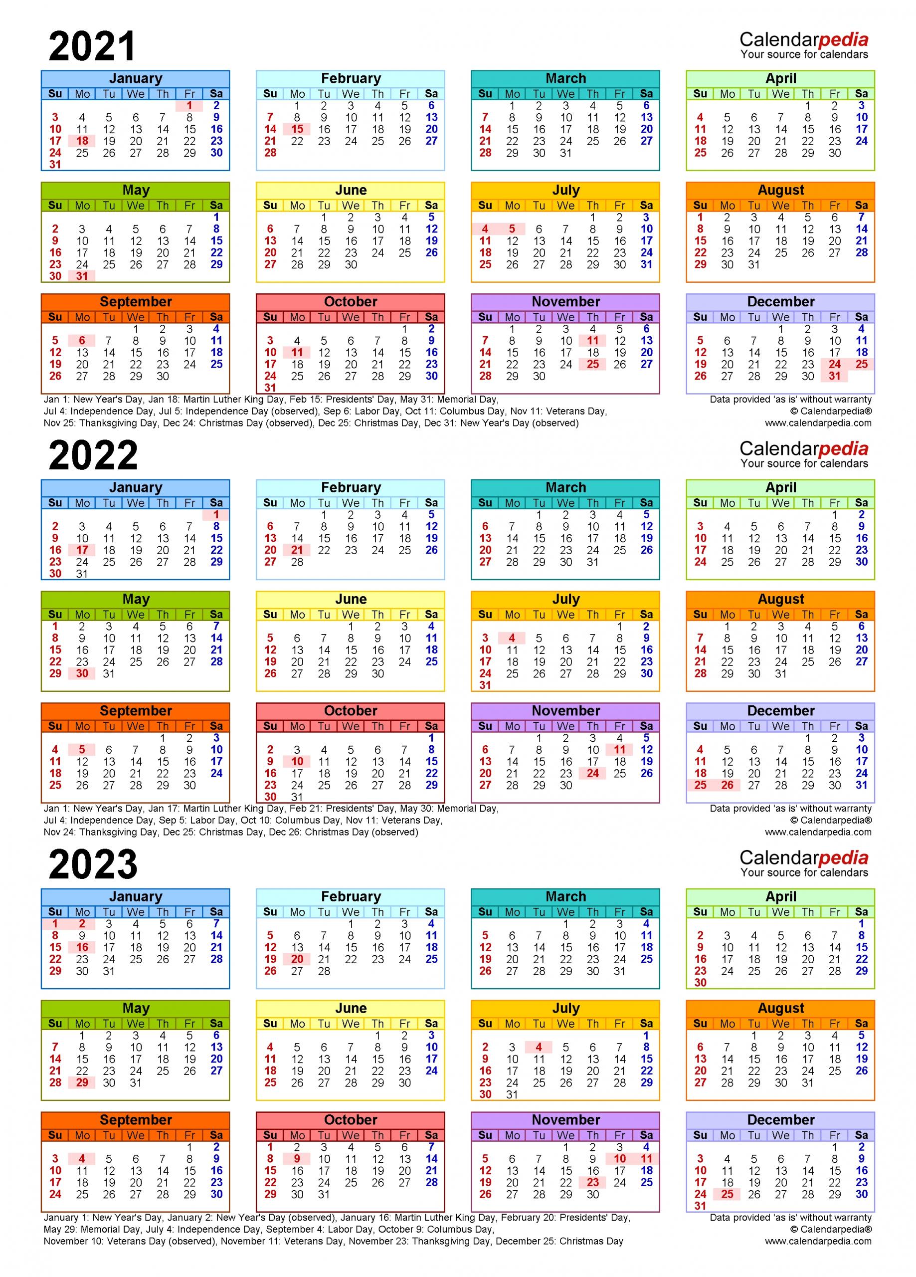 2021-2023 Three Year Calendar - Free Printable Pdf Templates
