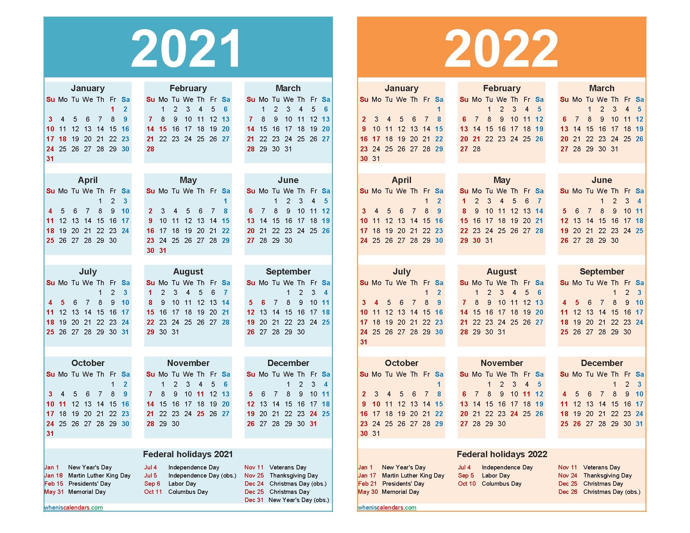 2021 And 2022 Calendar Printable Word, Pdf