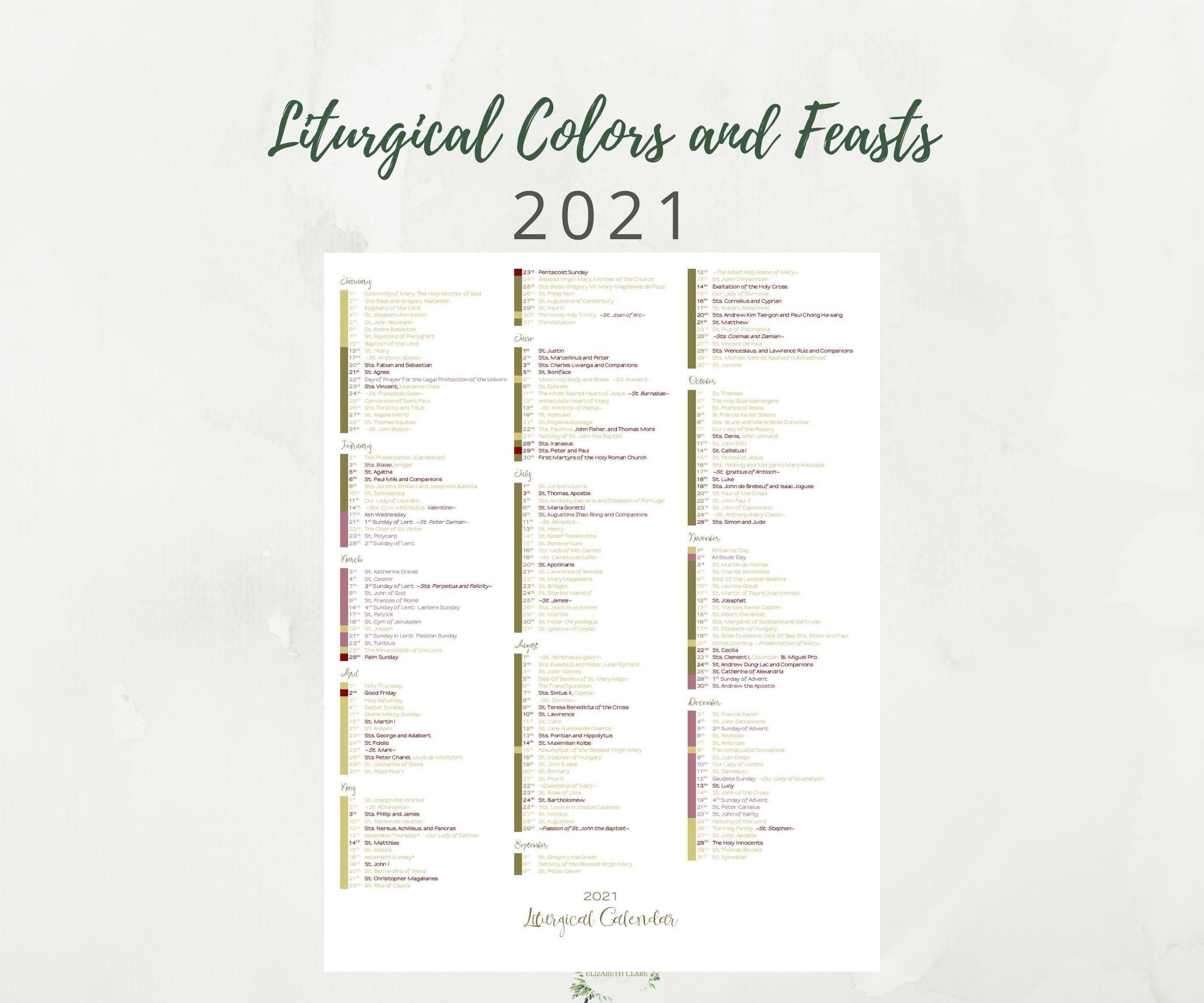 2021 At A Glance Catholic Liturgical Calendar
