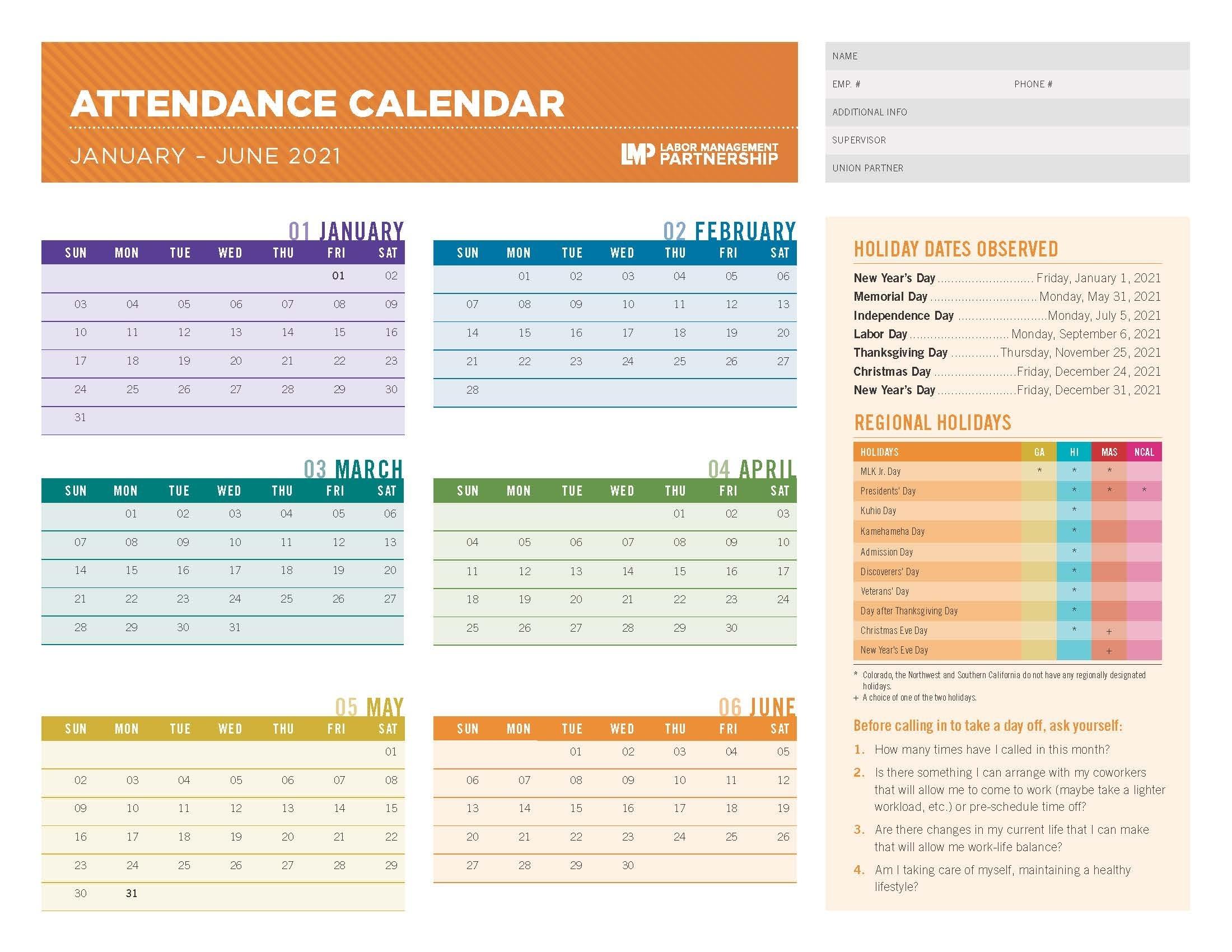 2021 Attendance Calendar | Labor Management Partnership