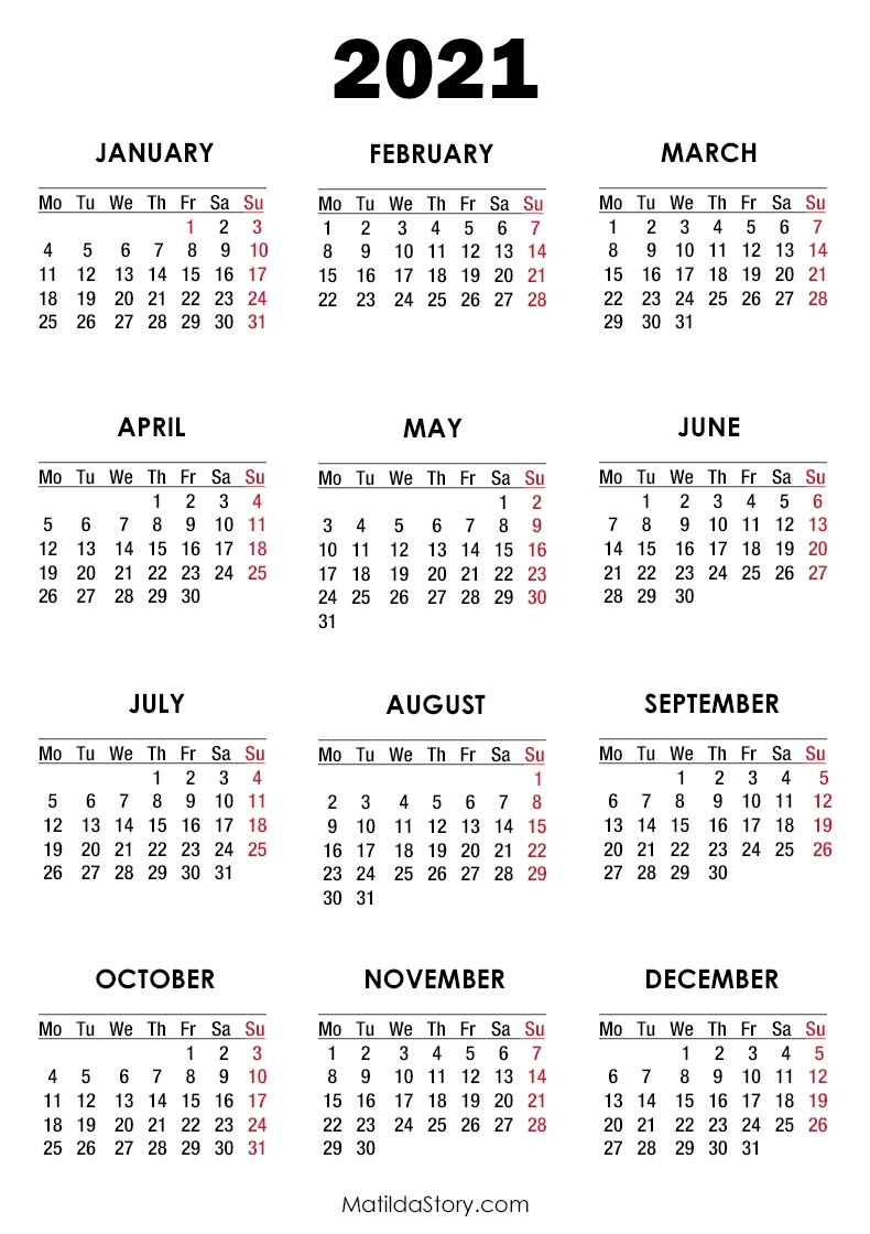 2021 Calendar Printable Free, White – Monday Start