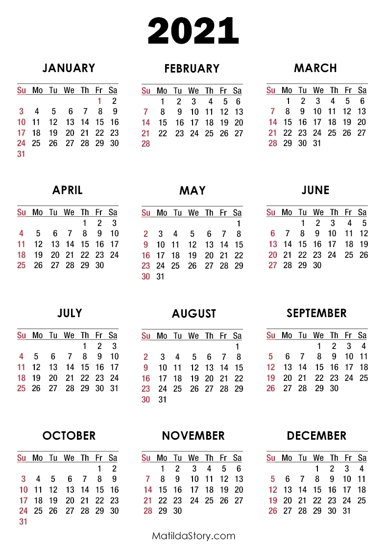 2021 Calendar Printable Free, White – Sunday Start