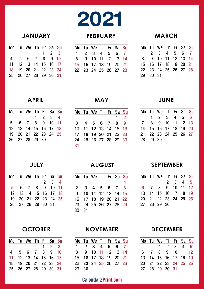 2021 Calendar Printable Free With Usa Holidays, Red – Monday intended for Printable Monday Calendar Monday Start